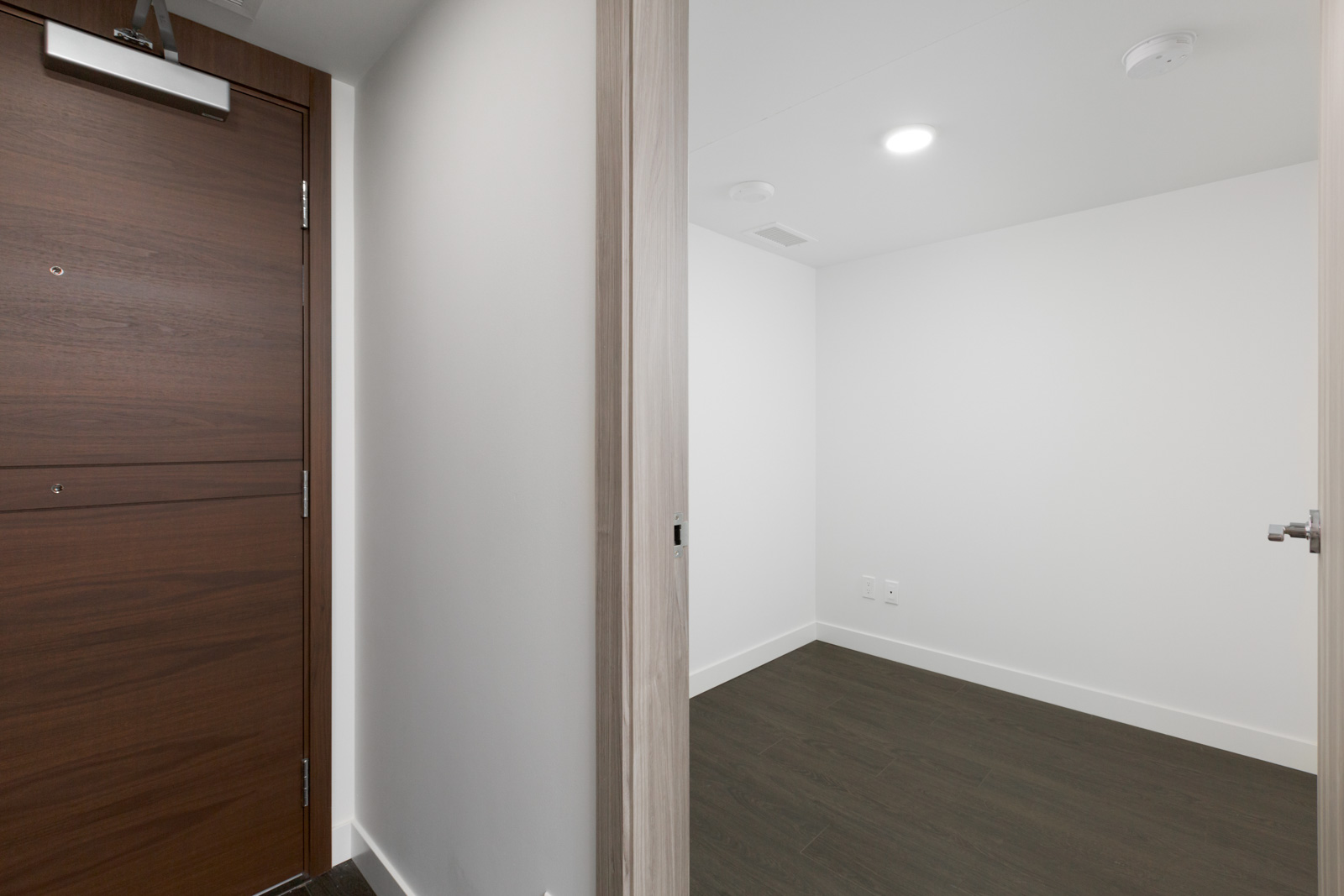 open door on left and view of walk in storage in new empty condo in concord gardens south estate on hazelbridge in richmond