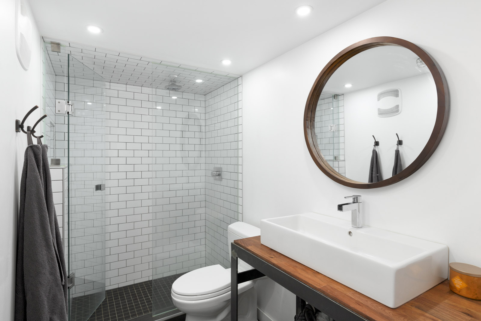 Bathroom in Yaletown Loft with White Tile