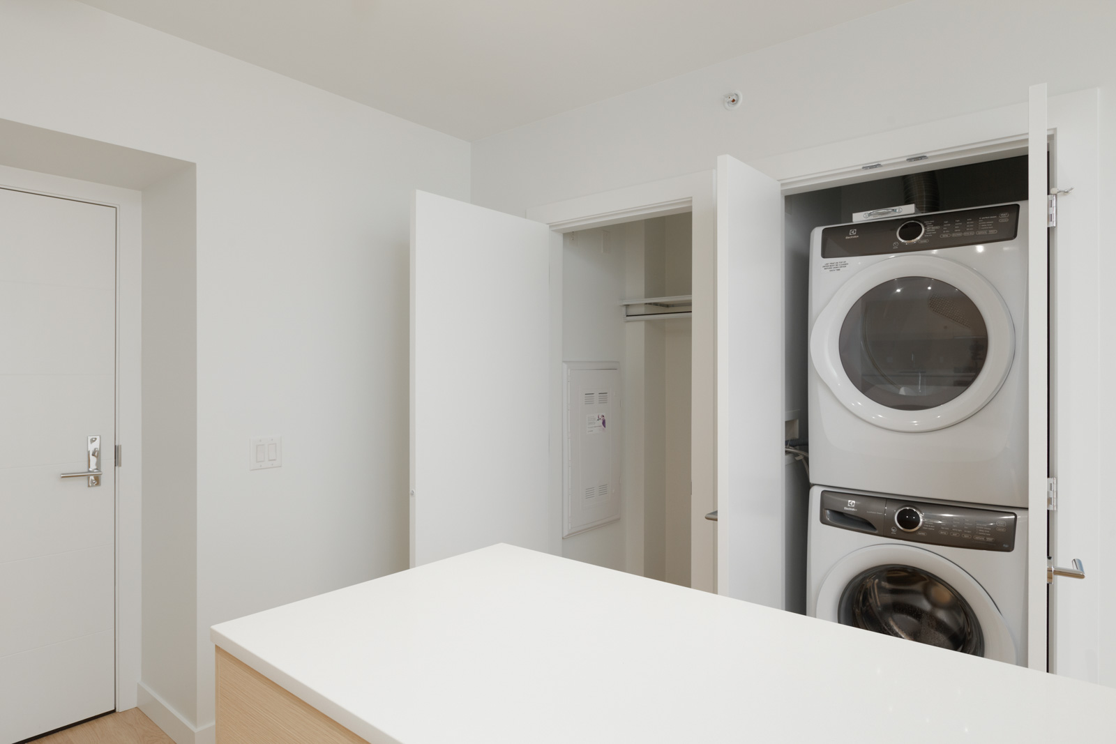 Storage closet and washer and dryer in unit by the entrance of the new condo in Coquitlam managed by Birds Nest Properties in Vancouver