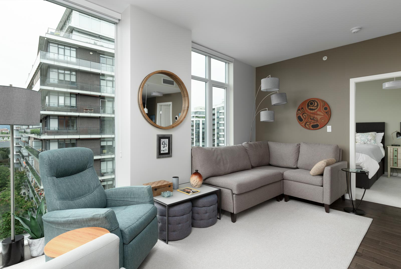 living room with view in rental condo at 38 West 1st Avenue #908 in Vancouver