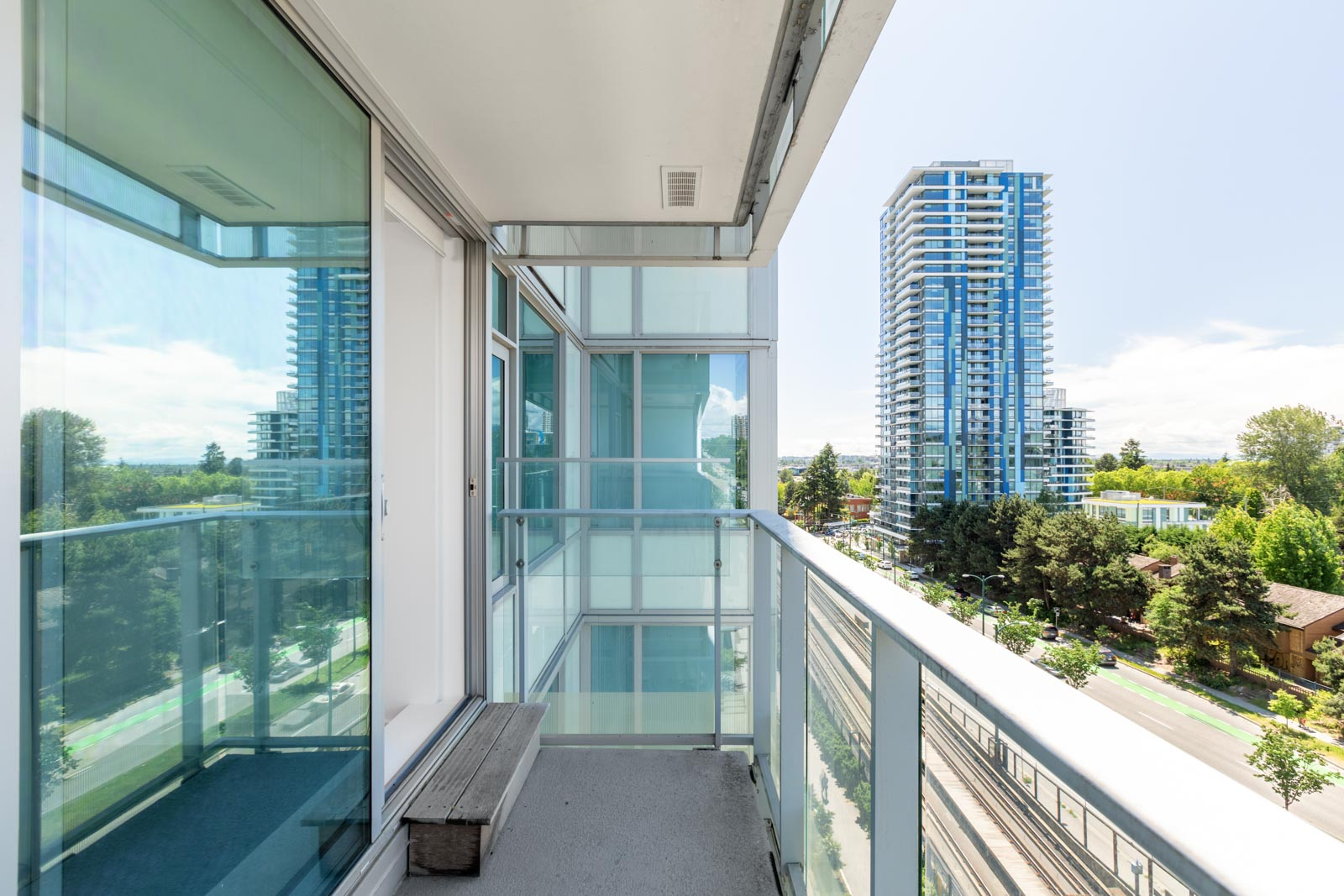 Balcony overlooking view of Westside Vancouver in a rental condo in Vancouver offered by Birds Nest Properties.