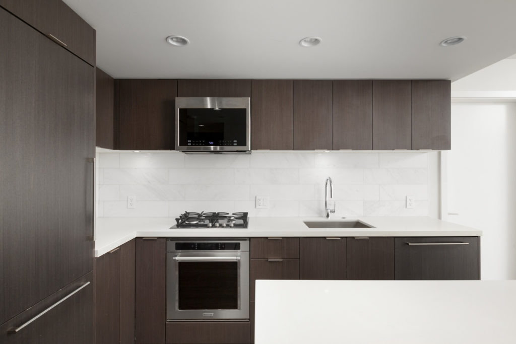 rental condo kitchen at northwest building in cambie and marine gateway neighbourhood of vancouver westside managed by birds nest properties