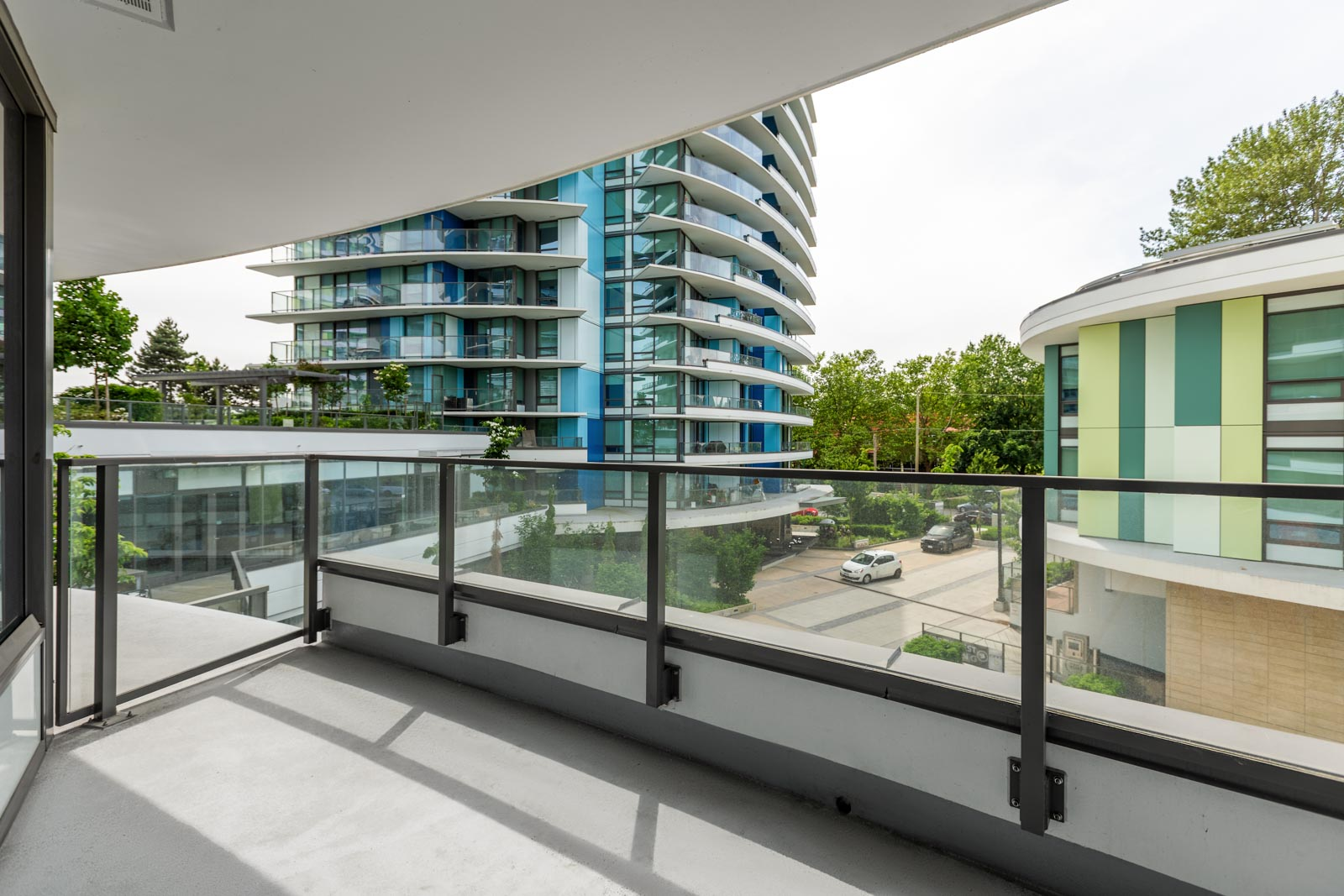 rental condo balcony area at northwest building in cambie and marine gateway neighbourhood of vancouver westside managed by birds nest properties