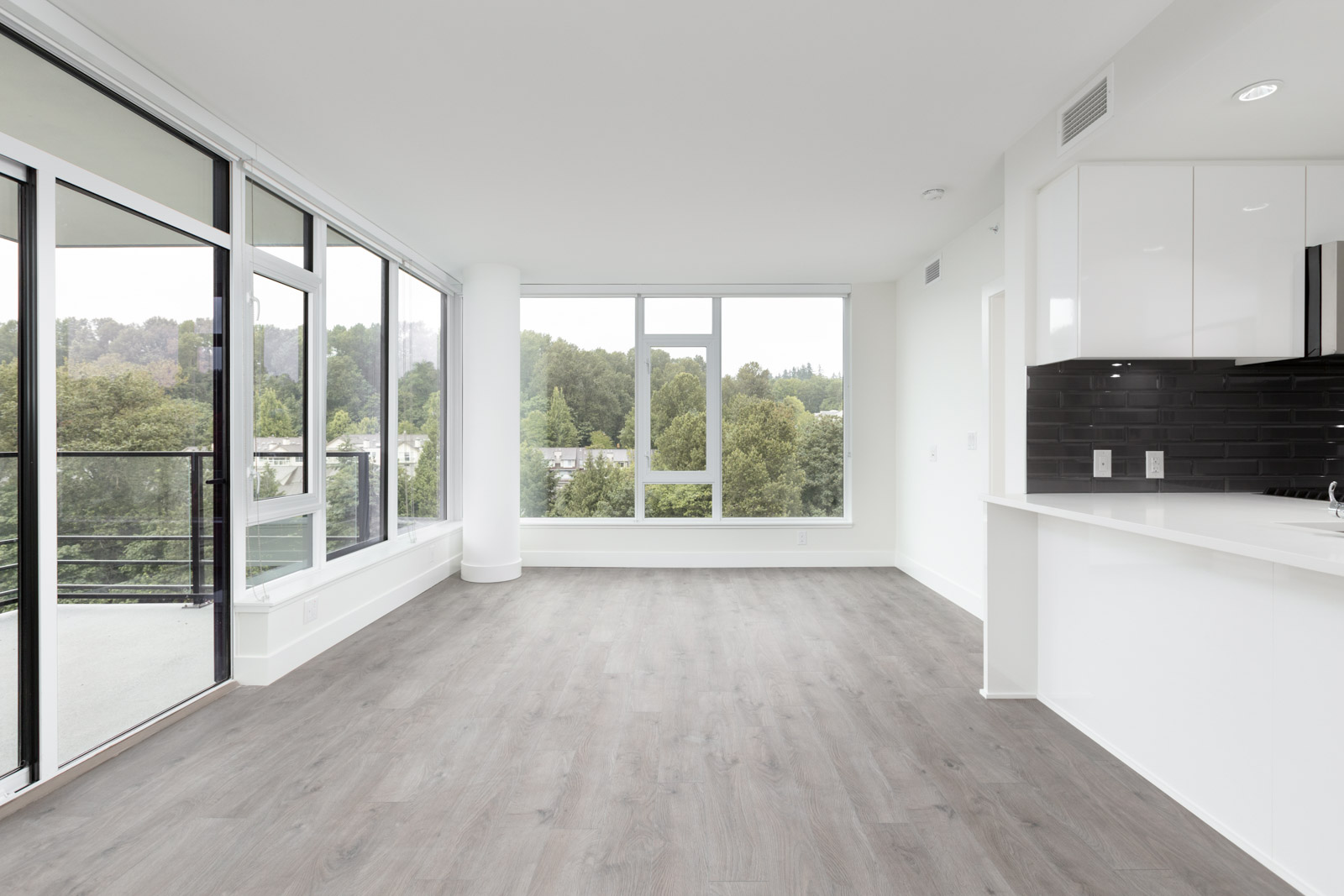 living room with view in rental condo at 8533 River District Crossing #1207 in Vancouver
