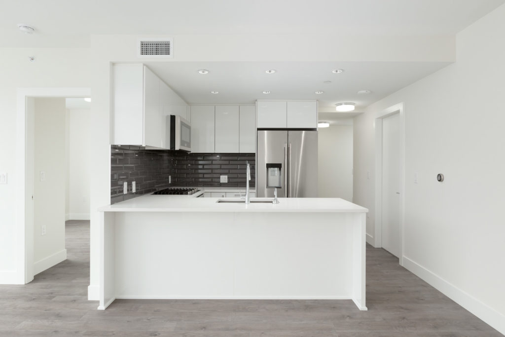 kitchen in rental condo at Quartet in the River District neighbourhood of Vancouver