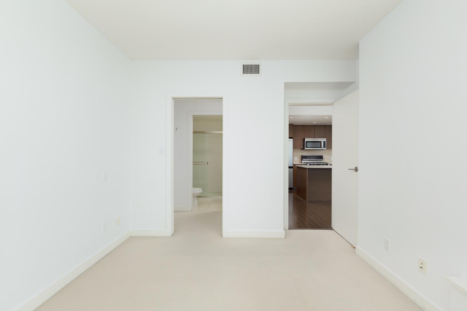 bedroom with closet in rental condo at Northwest in the Garden City neighbourhood of Richmond