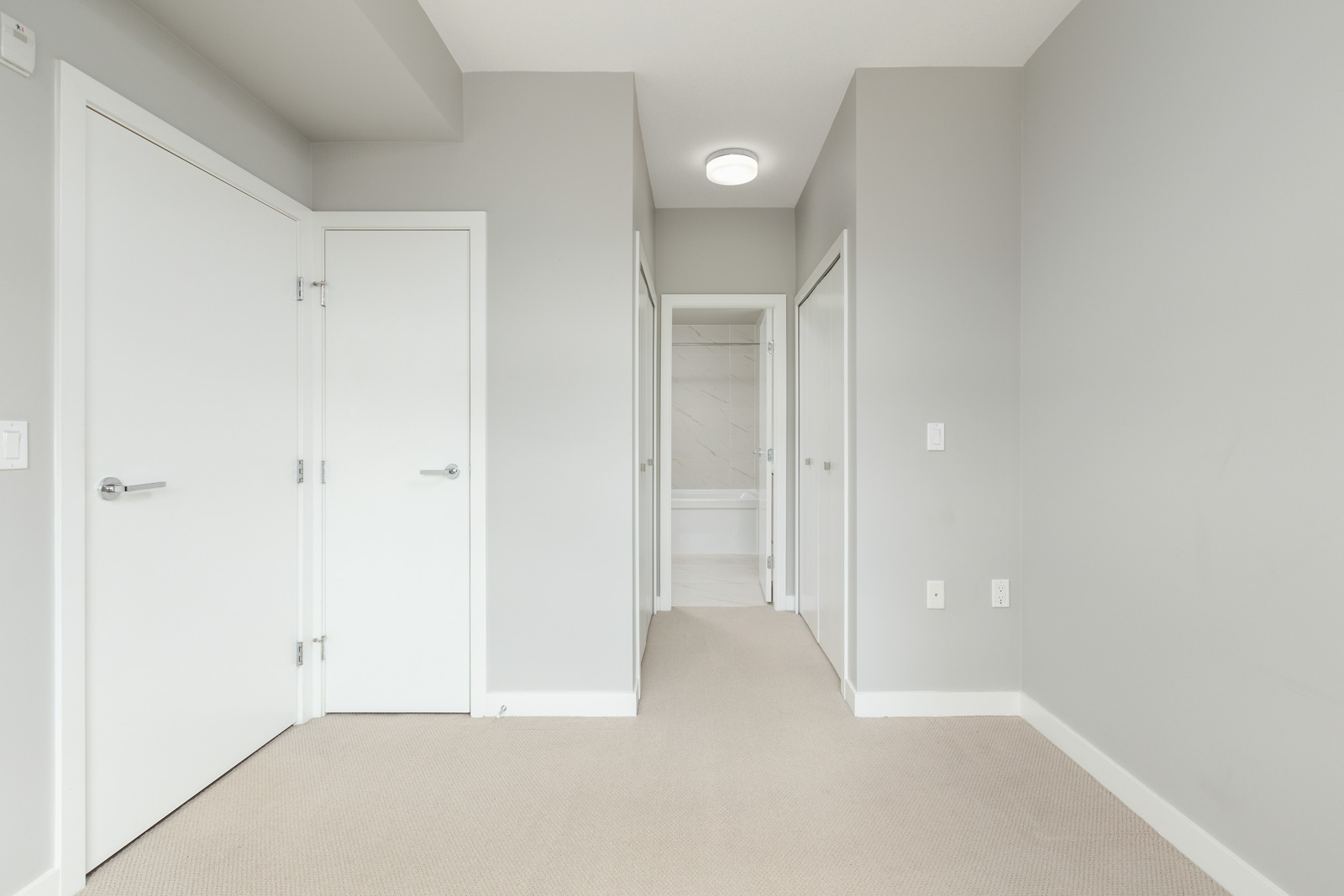 bedroom with closet in rental townhome at Omega in the Cambie + Marine neighbourhood of Richmond