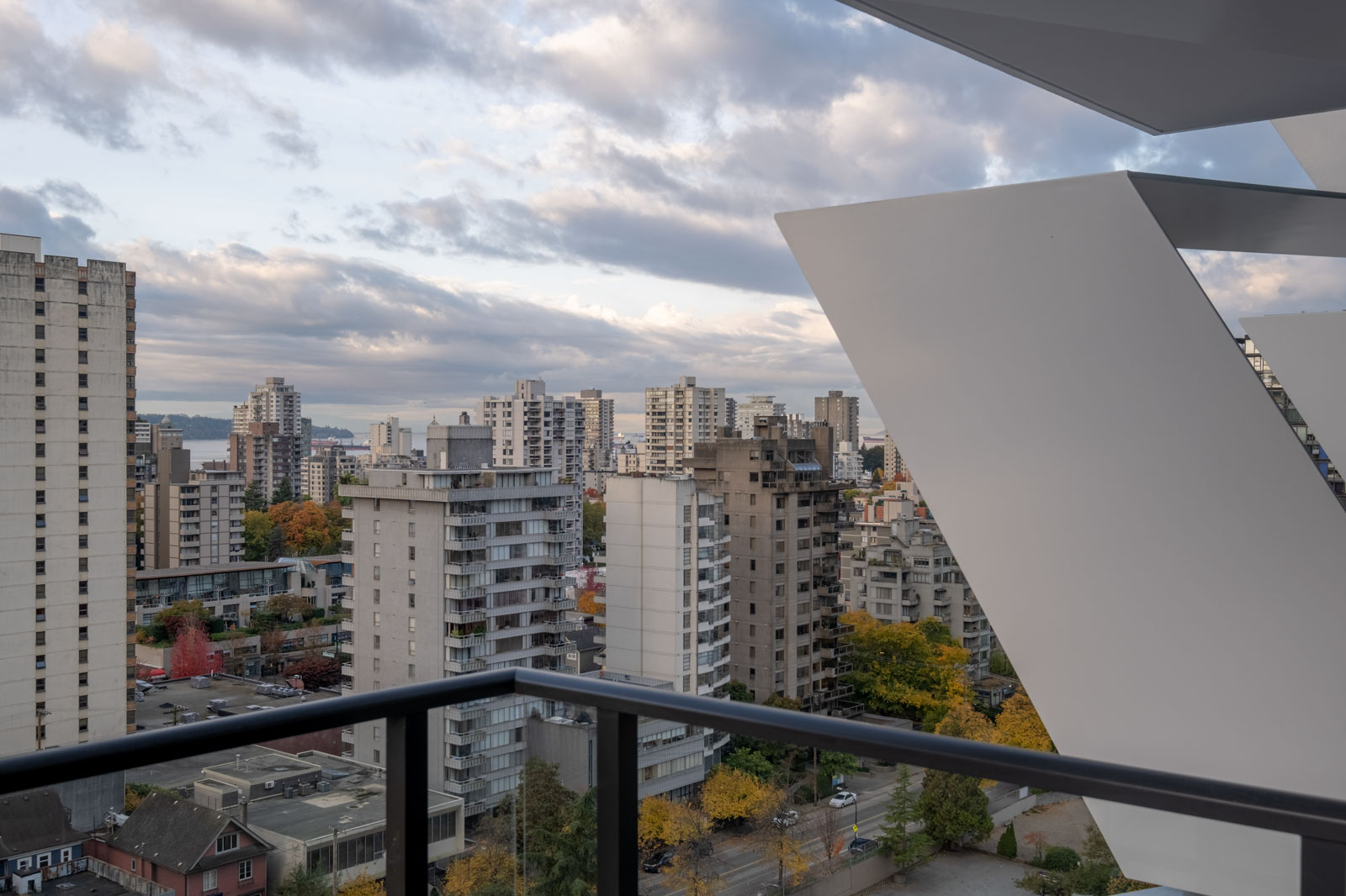 balcony with view of clear skies in rental condo at cardero in coal harbour neighbourhood of vancouver