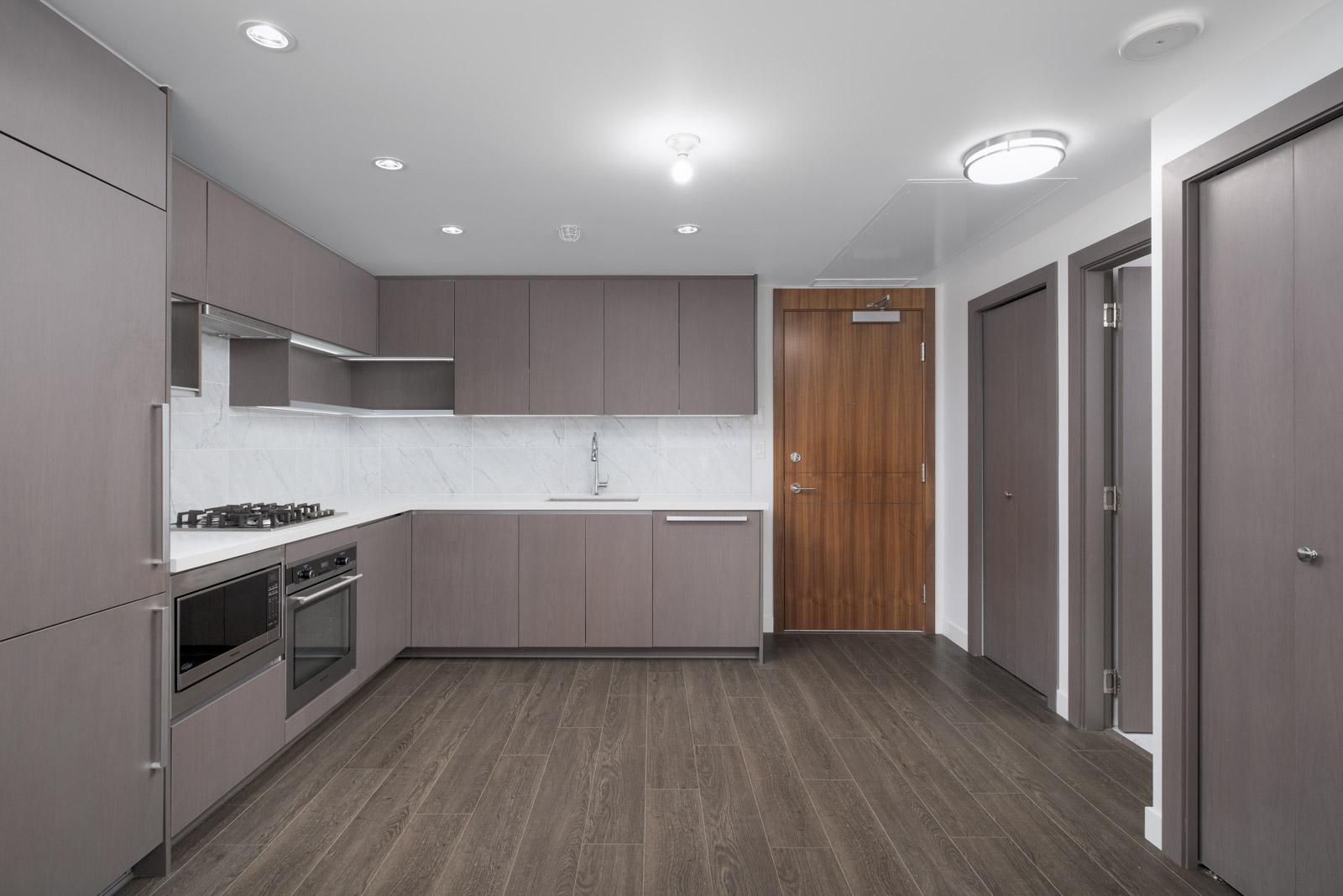 kitchen in rental condo at met2 in metrotown neighborhood in Burnaby