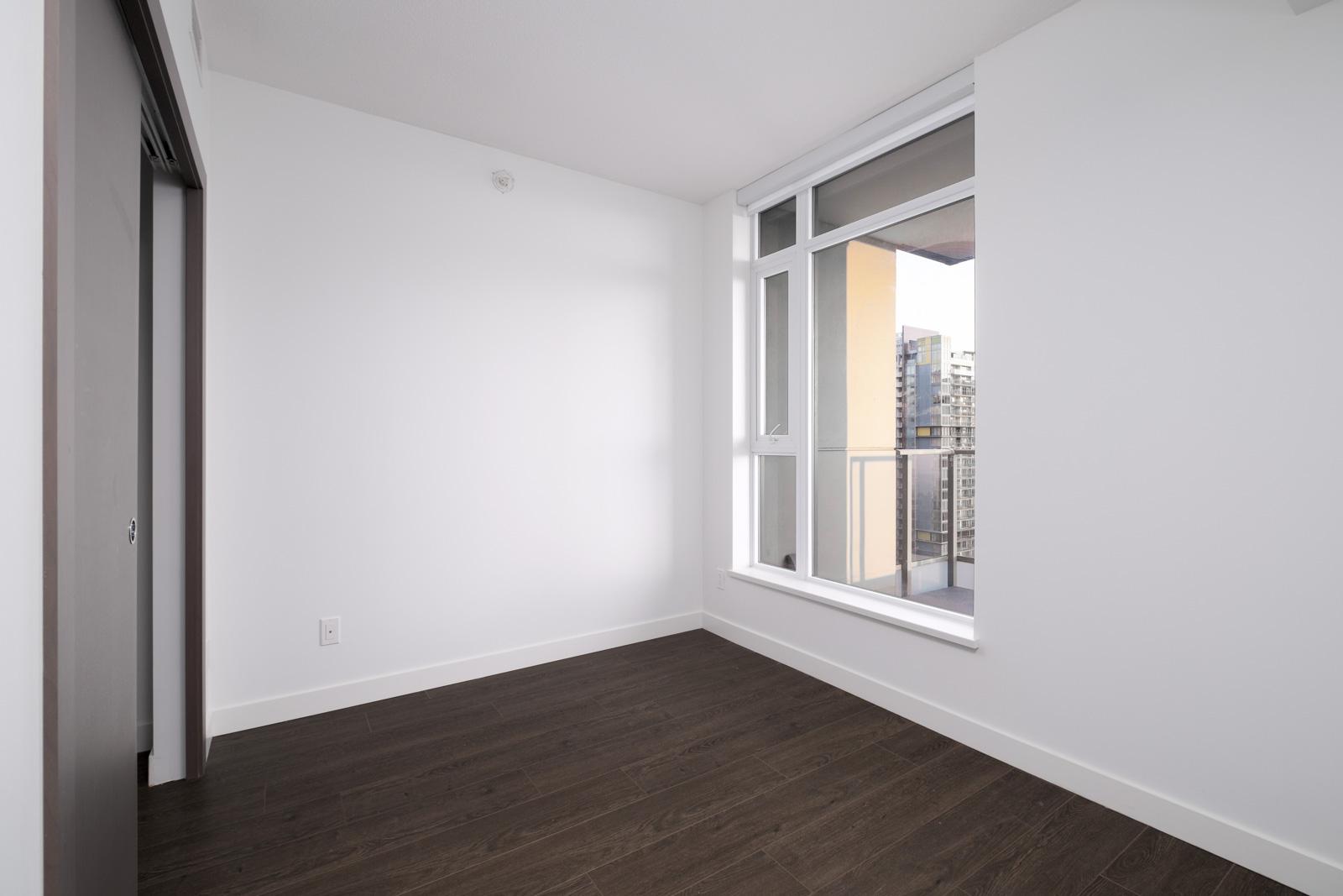living room with hardwood floors in rental condo in the metrotown neighborhood of Burnaby