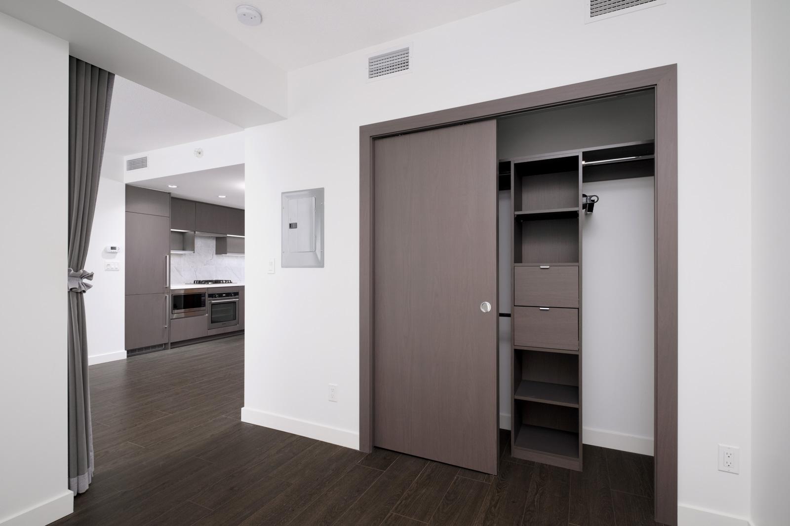 bedroom with closet in rental condo at met2 in rental condo in the metrotown neighborhood of Burnaby