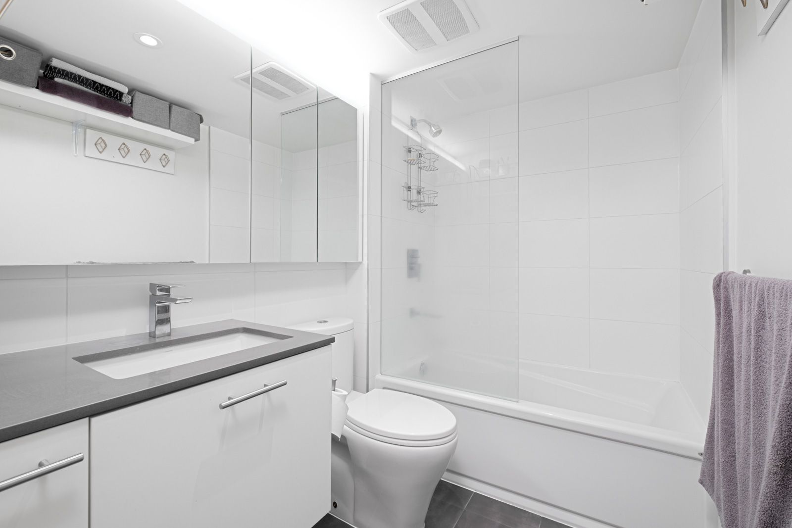 bathroom with white walls in the Gastown neighbourhood of Vancouver