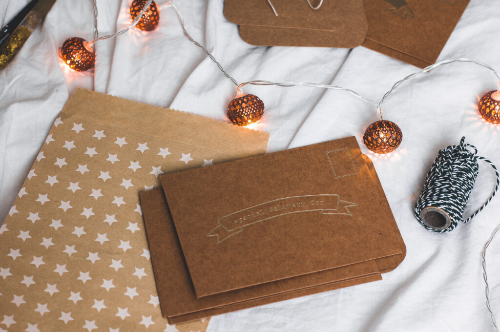 Christmas gift wrapping in brown paper