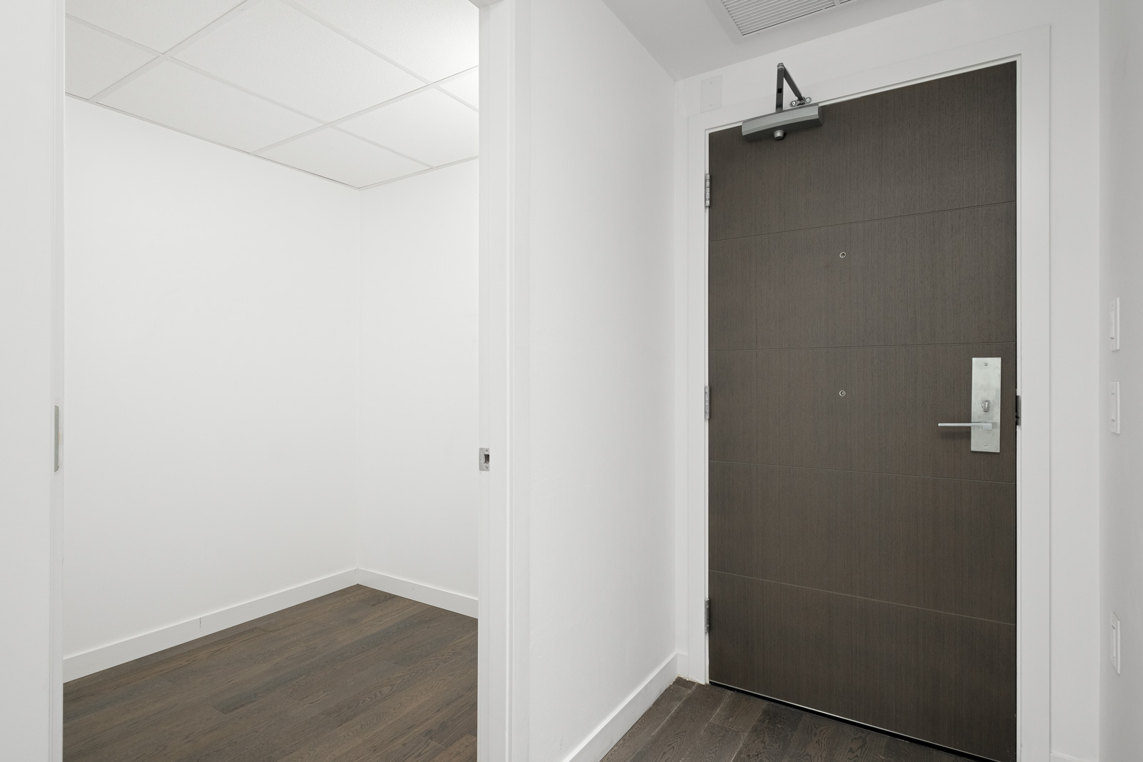 entry with door on right of rental condo in false creek olympic village in vancouver