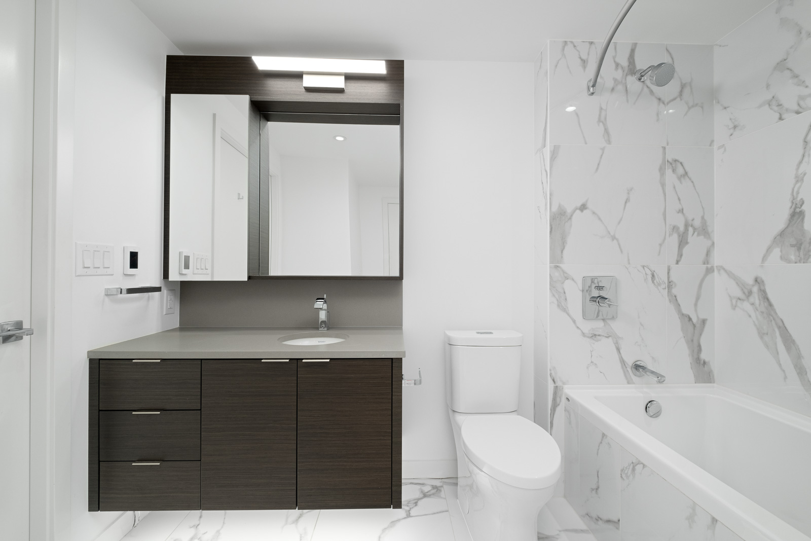 bathroom in rental condo at navio on pullman porter street in false creek olympic village neighbourhood of vancouver
