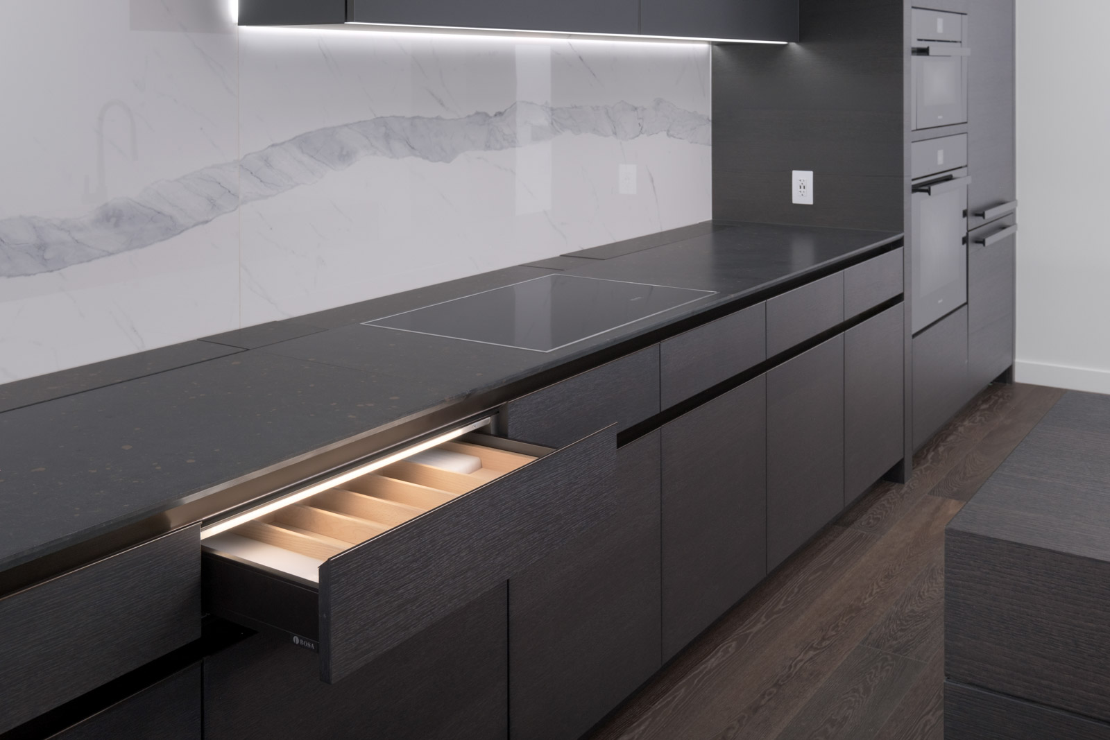 open kitchen drawer in rental condo in cardero in downtown vancouver