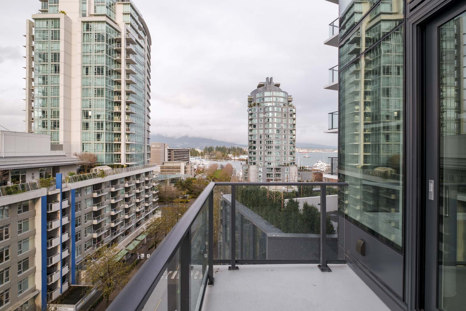 balcony with railing in rental condo managed by birds nest properties at cardero in the coal harbour neighbourhood of downtown vancouver