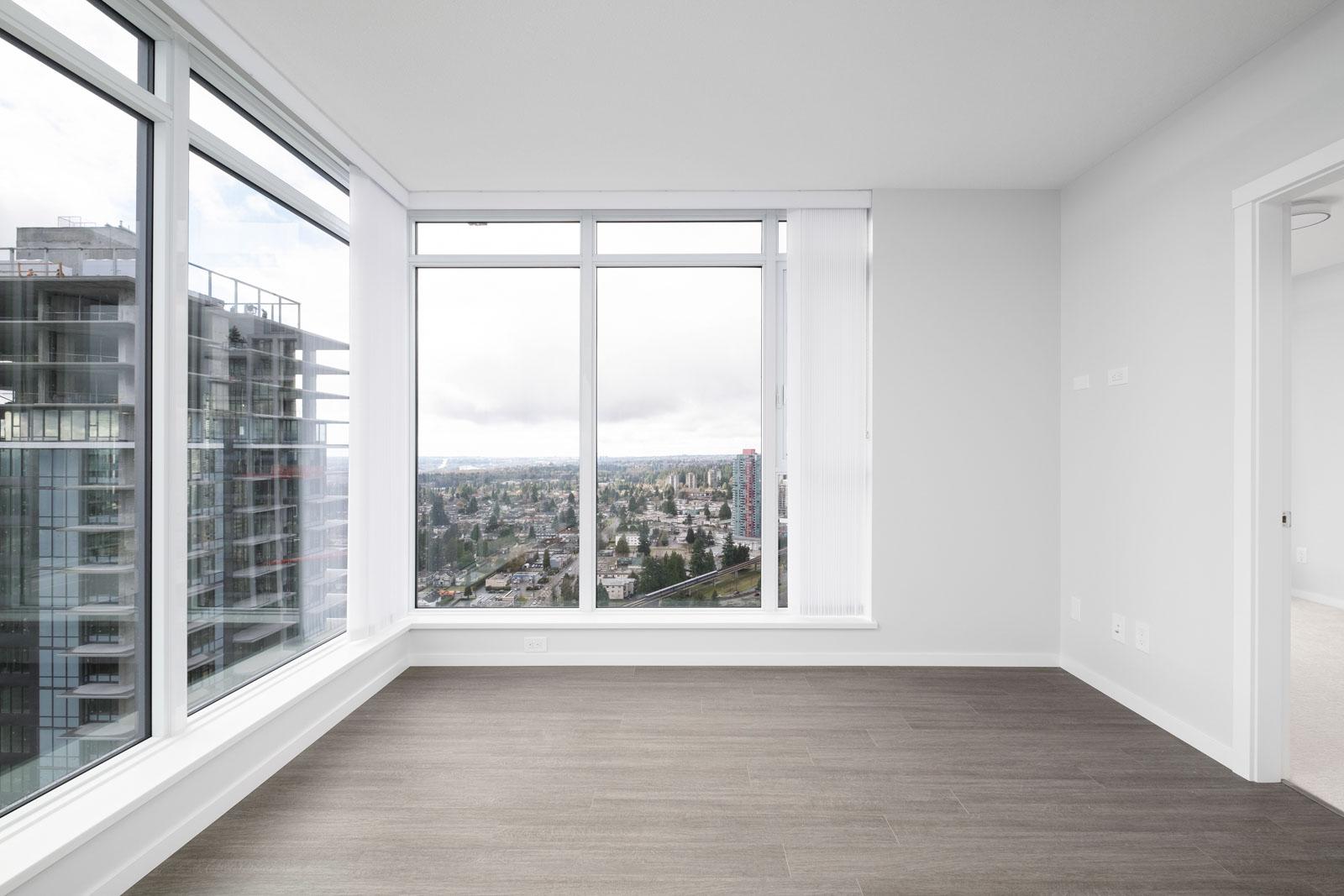 living room with hardwood floors in rental condo in the Metrotown neighbourhood of Burnaby
