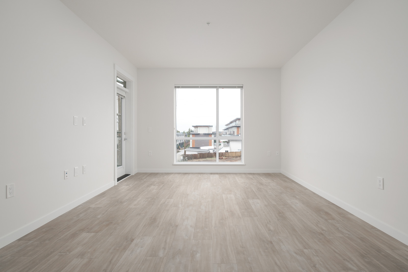living room with hardwood floors in rental condo in the Lonsdale neighbourhood of North Vancouver