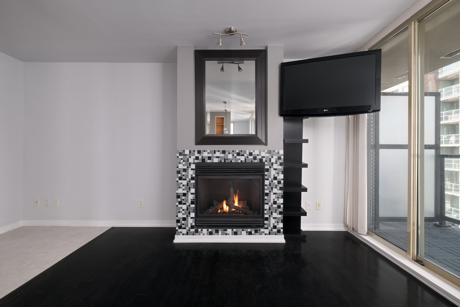 fireplace in the living room in the yaletown neighbourhood at downtown Vancouver