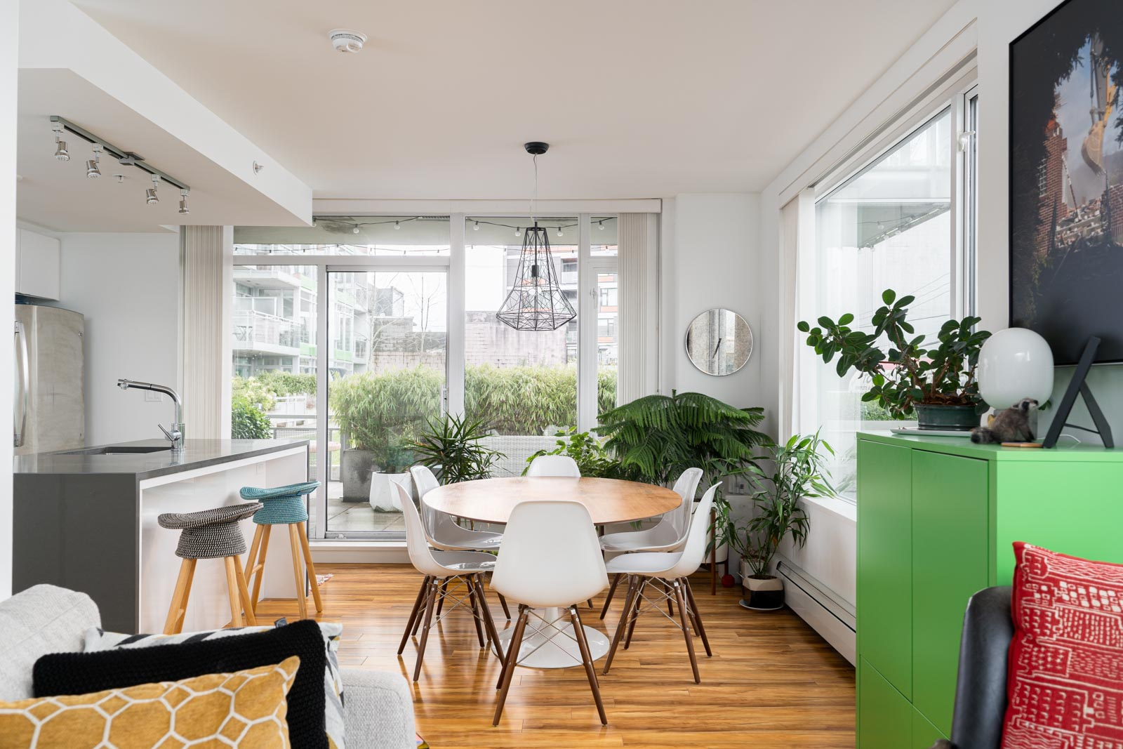 Bright kitchen and living room in the Mount Pleasant