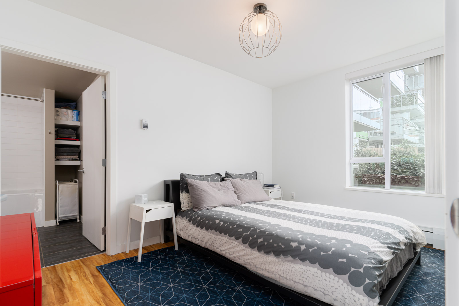 bedroom with white walls in rental house in the Mount pleasant neighbourhood