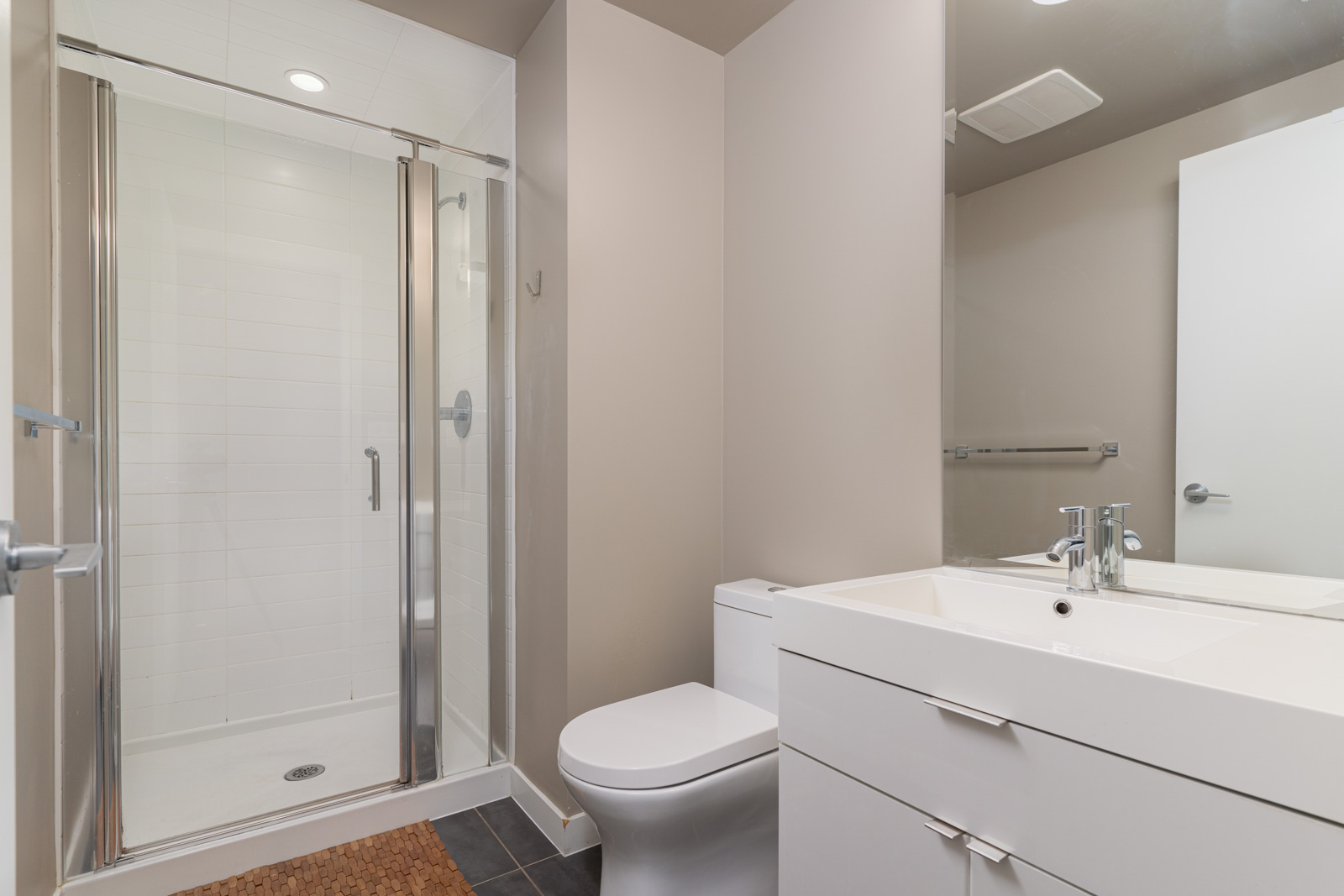 bathroom with white decor in shine at Mount pleasant vancouver