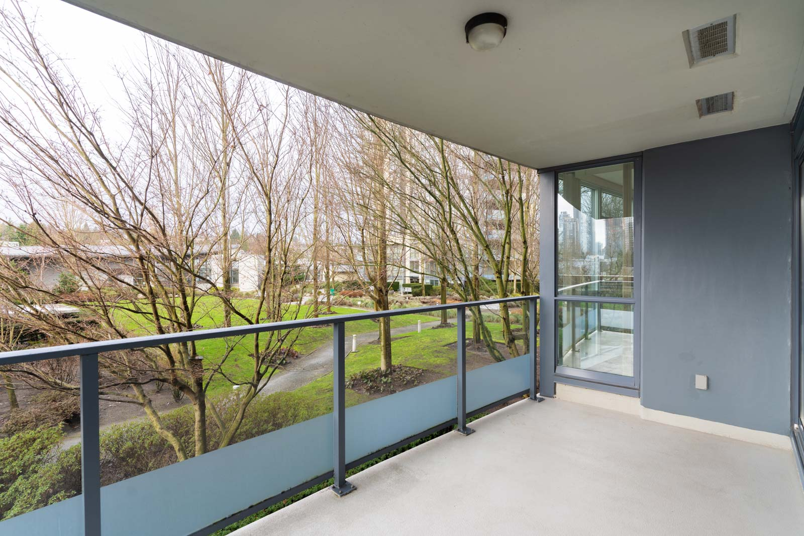 balcony with view of clear skies in rental condo in the Brentwood neighbourhood of Burnaby