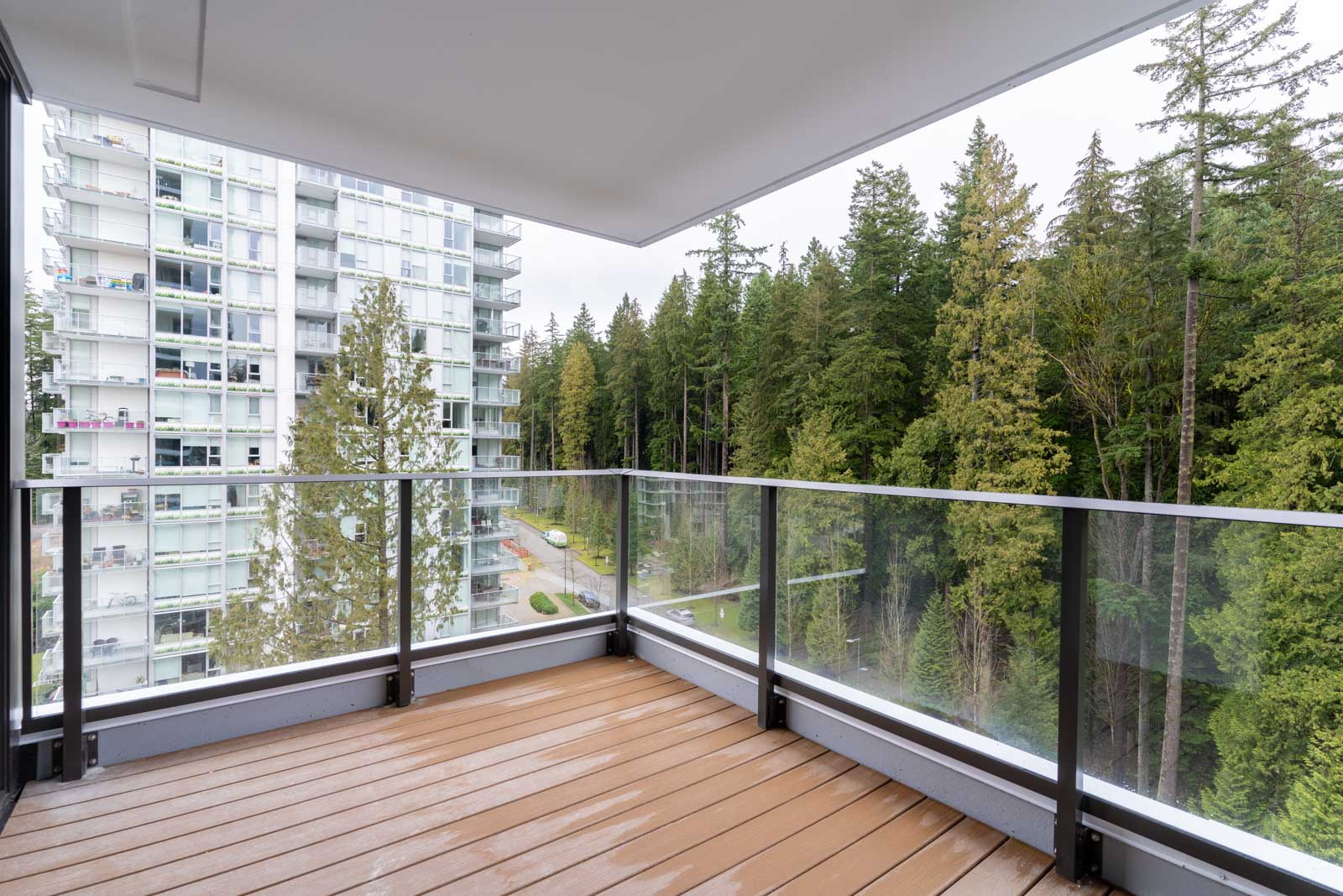 balcony with view of city life in rental condo in Wesbrook neighbourhood Vancouver