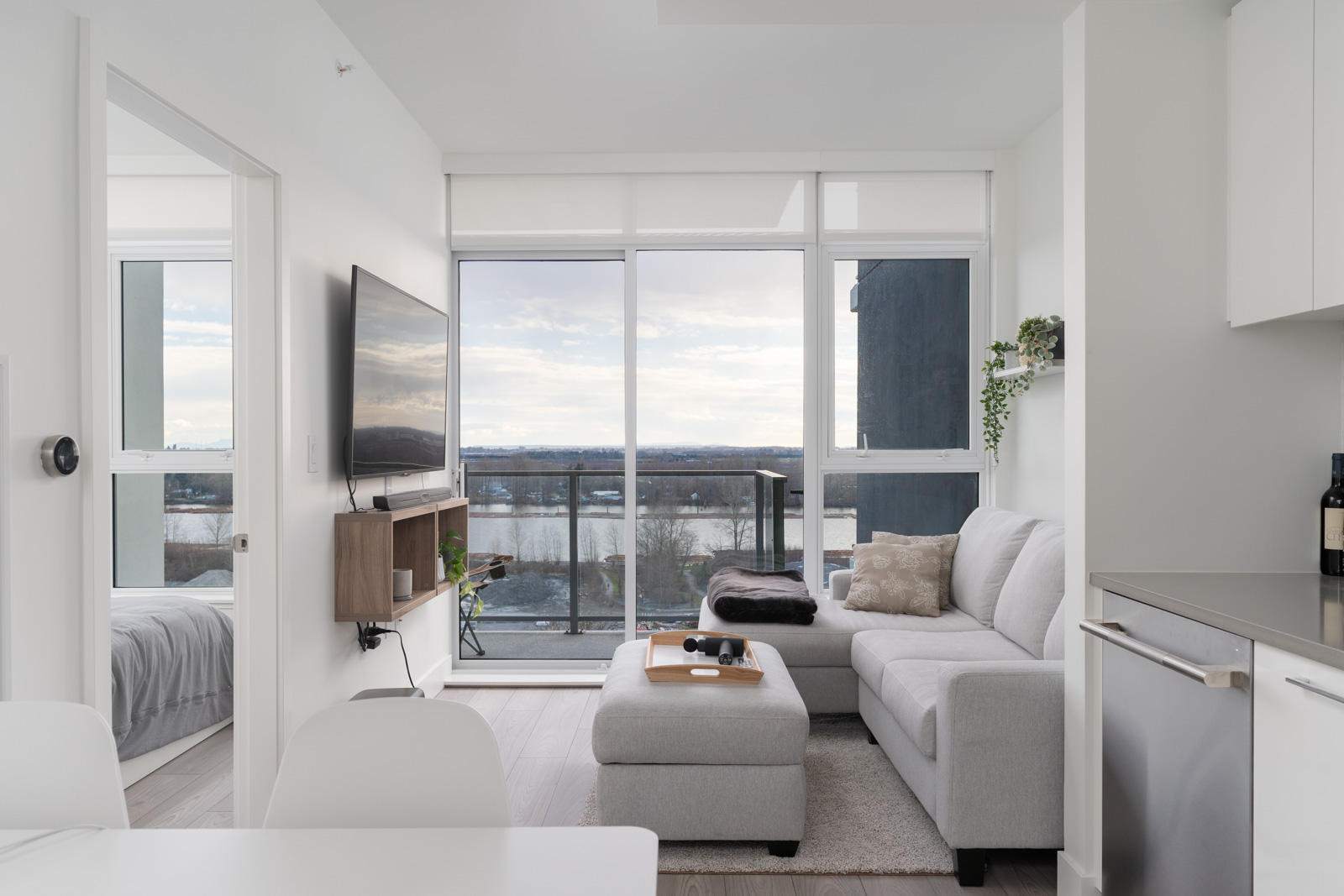 living room in rental house in the River District neighbourhood of vancouver