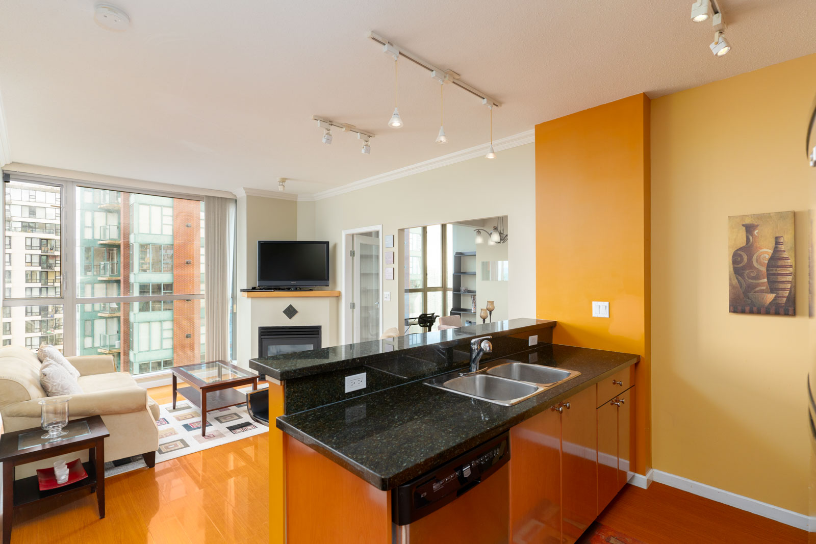 open concept kitchen that overlooks city view