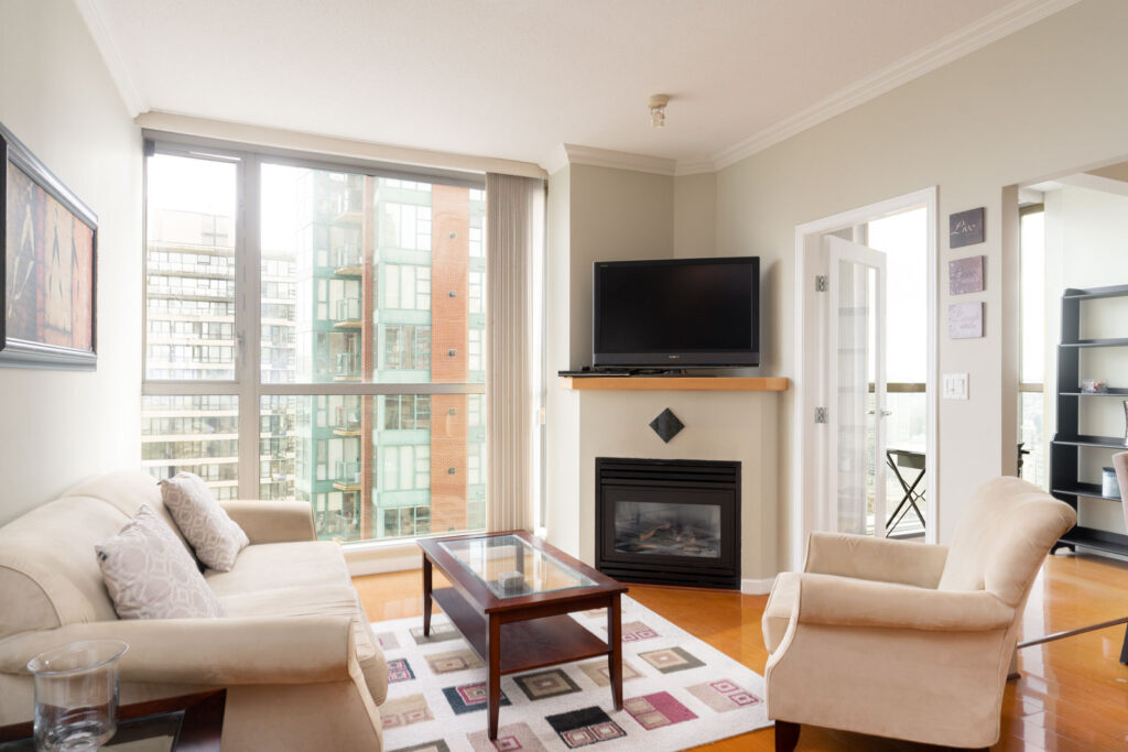 living room in rental condo in the Downtown neighbourhood of Vancouver