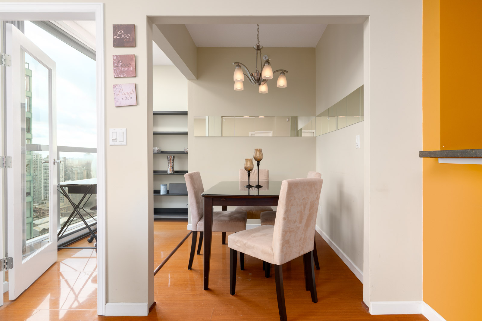 A spacious den that functions as a office in a luxury condo managed by Birds Nest Properties