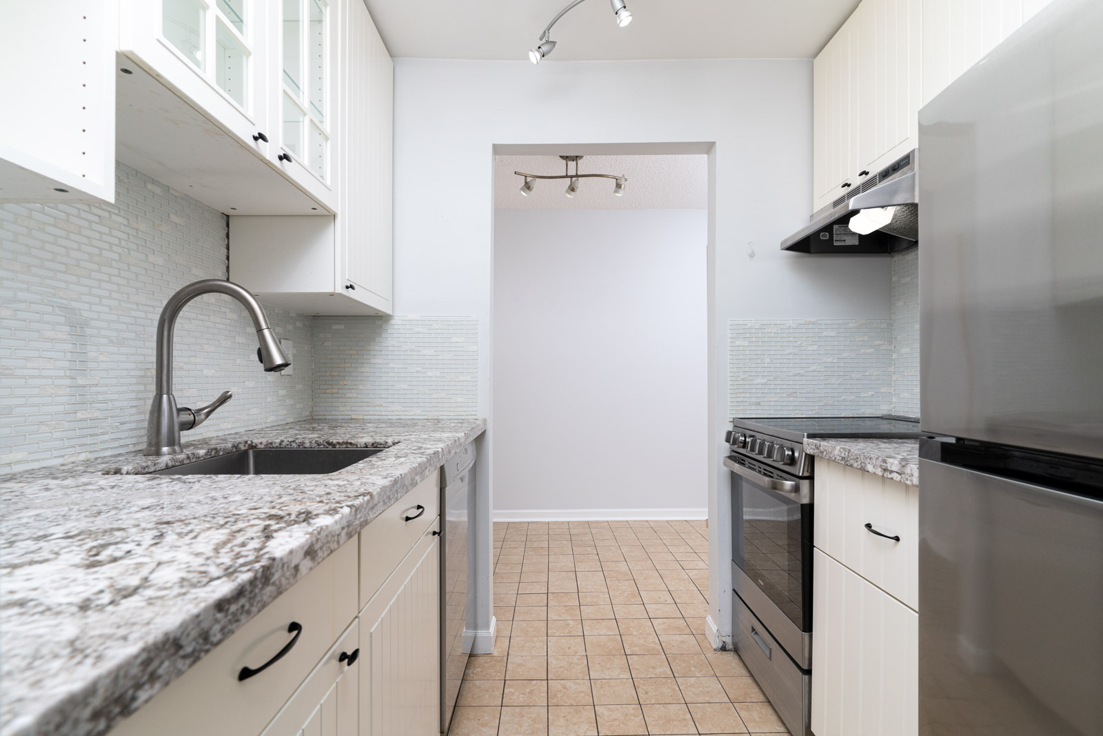 kitchen in condo in the mount pleasant neighborhood of vancouver; granite countertop kitchen with stainless steel appliances