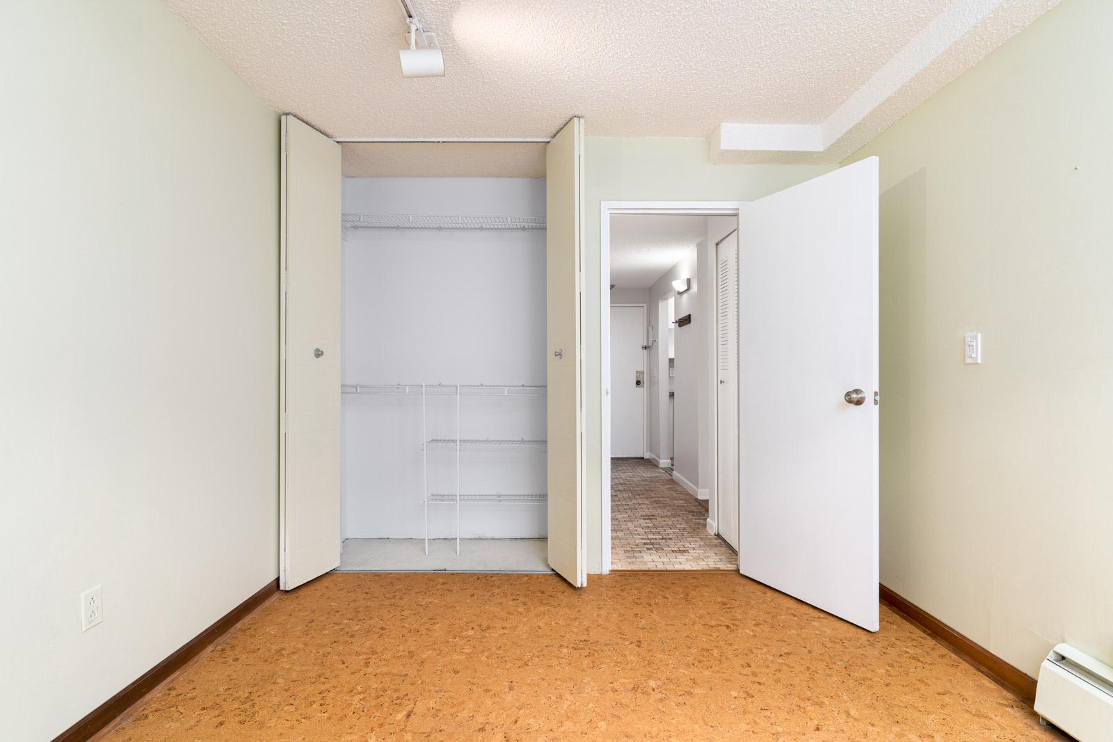 bedroom with large closet in rental condo in mount pleasant neighborhood in vancouver