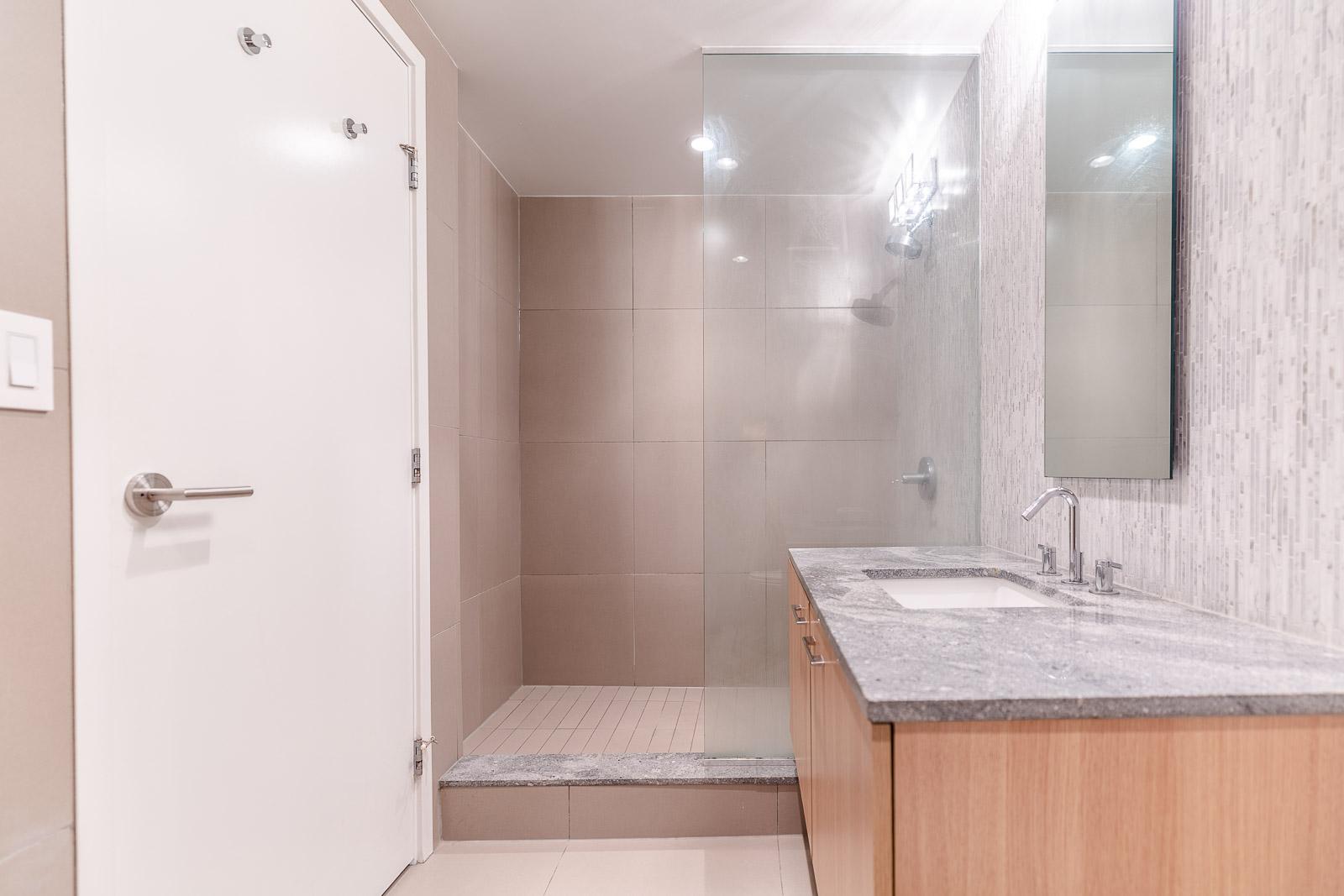 spa-inspired bathroom in Fairview condo