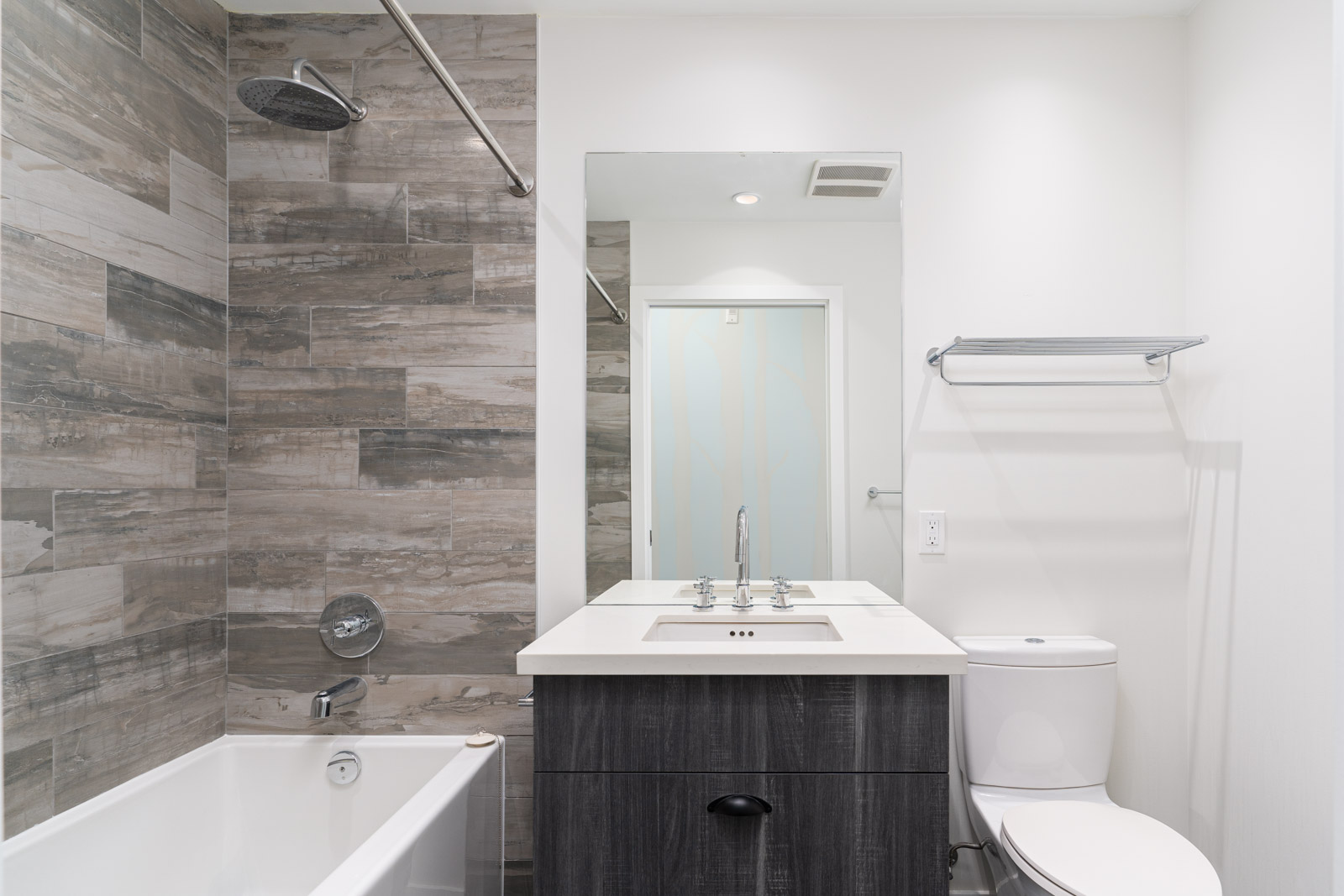 modern washroom in grey shades in a rental condo in vancouver in mount pleasant