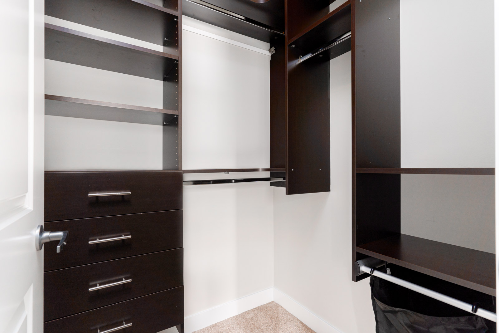 Built in closet with dark wood shelves