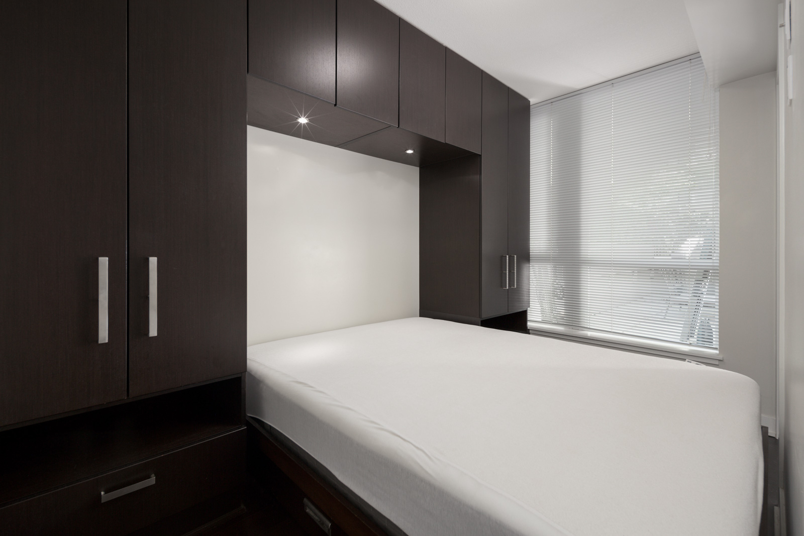 bedroom with closet in rental condo at Donovan in the Downtown neighbourhood of Vancouver