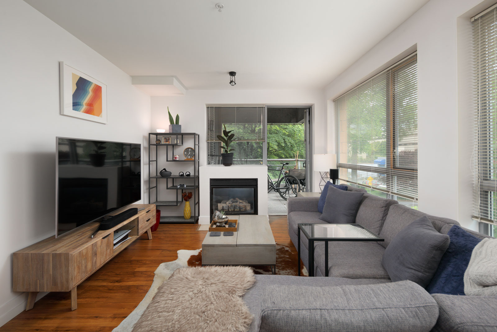 living room in rental condo in the West End neighbourhood of Vancouver