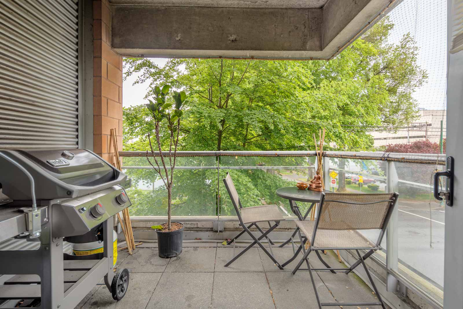 balcony with view of clear skies in rental condo in the West End neighbourhood of Vancouver