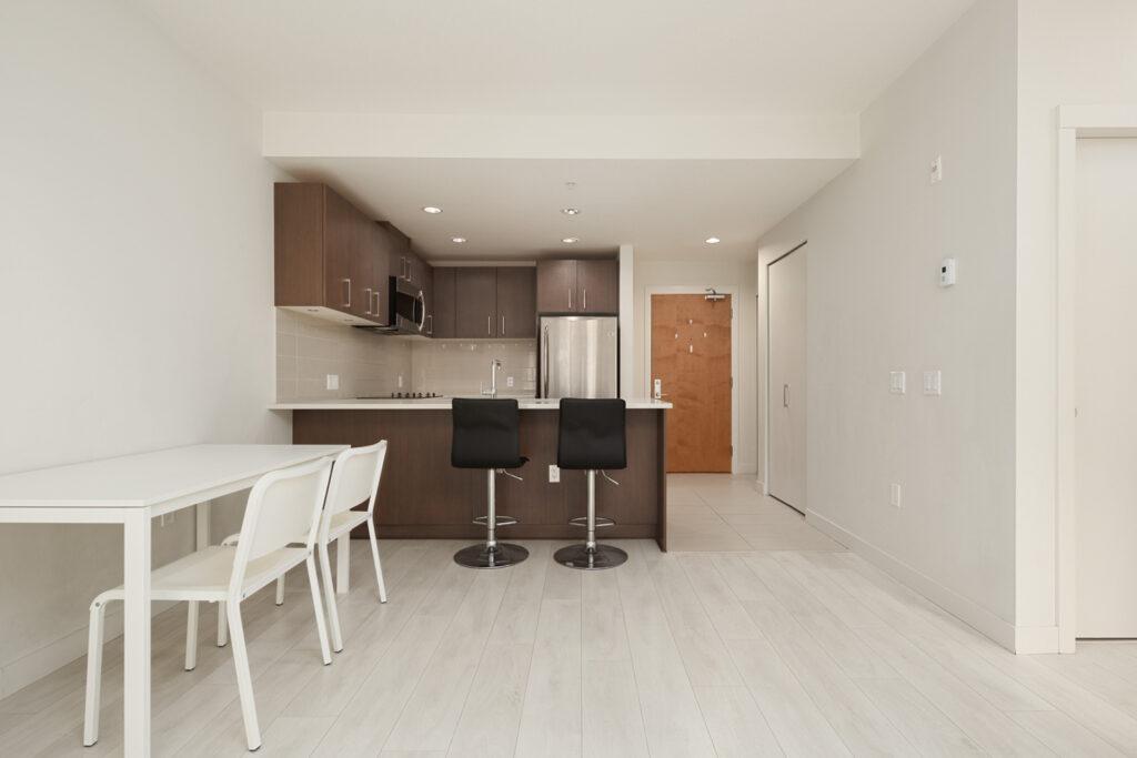 living room with hardwood floors in rental condo in the Metrotown neighbourhood of UBC