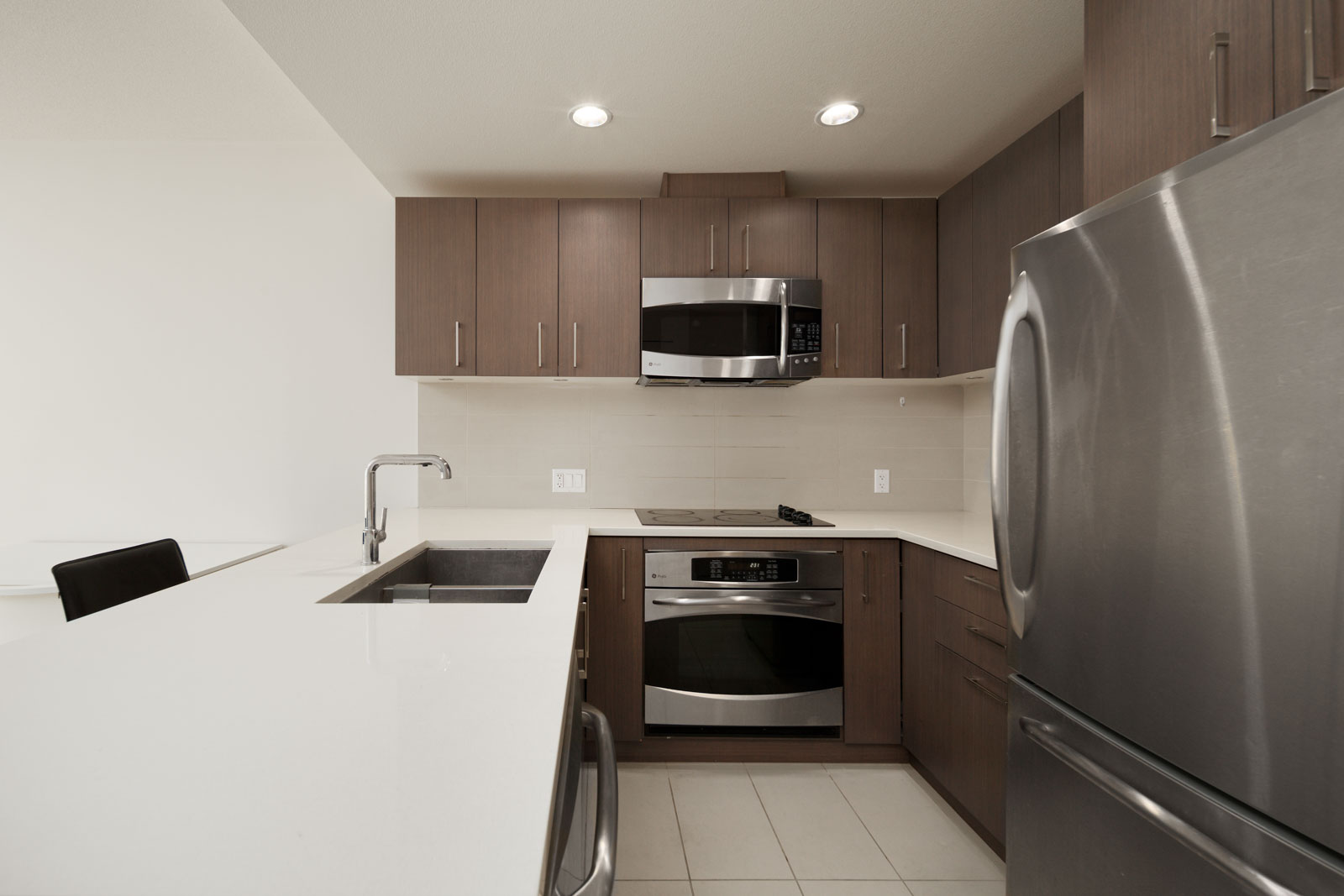 kitchen in rental condo at The Sail in the Wesbrook neighbourhood of UBC