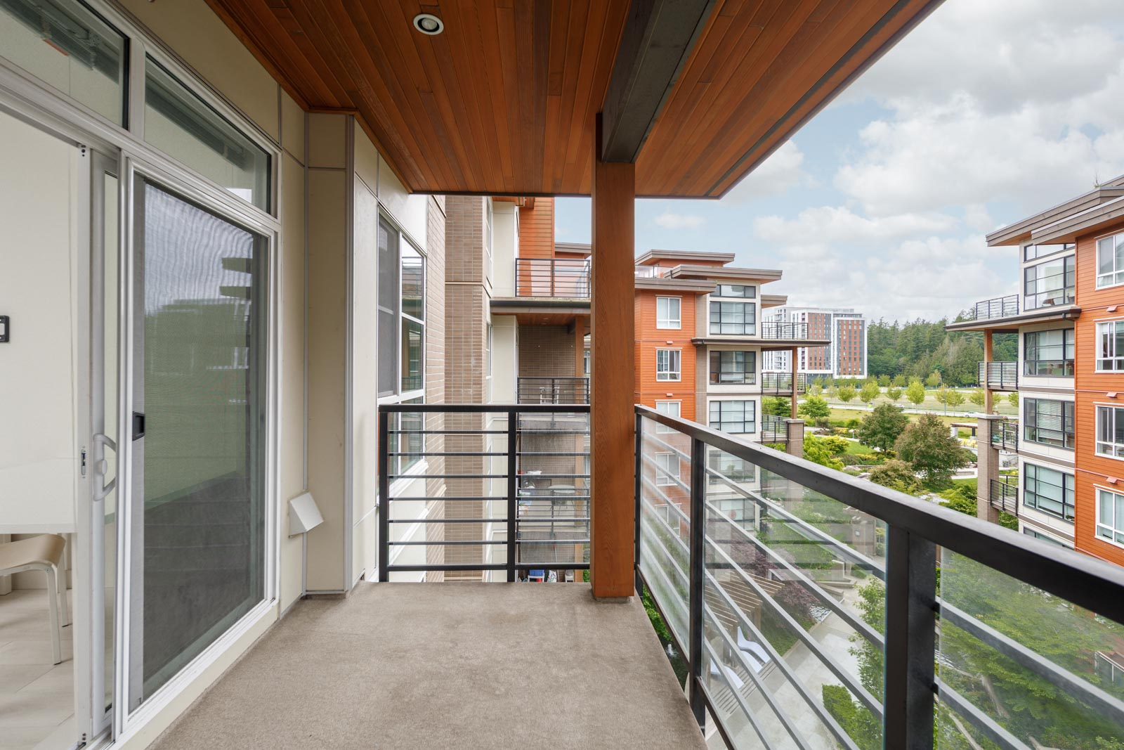 balcony with view of clear skies in rental condo in the UBC neighbourhood of Vancouver