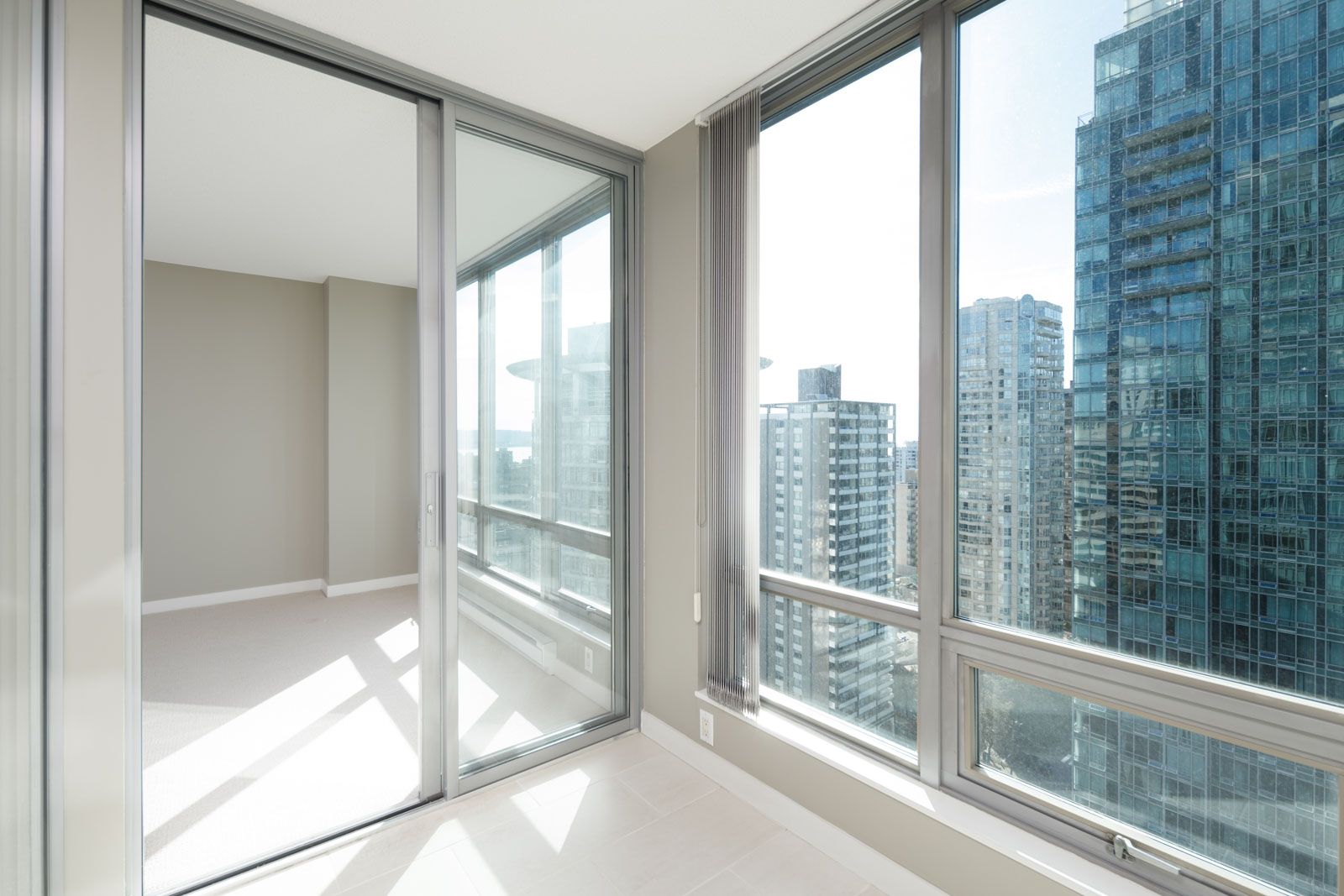 solarium off living room and kitchen in apartment downtown vancouver
