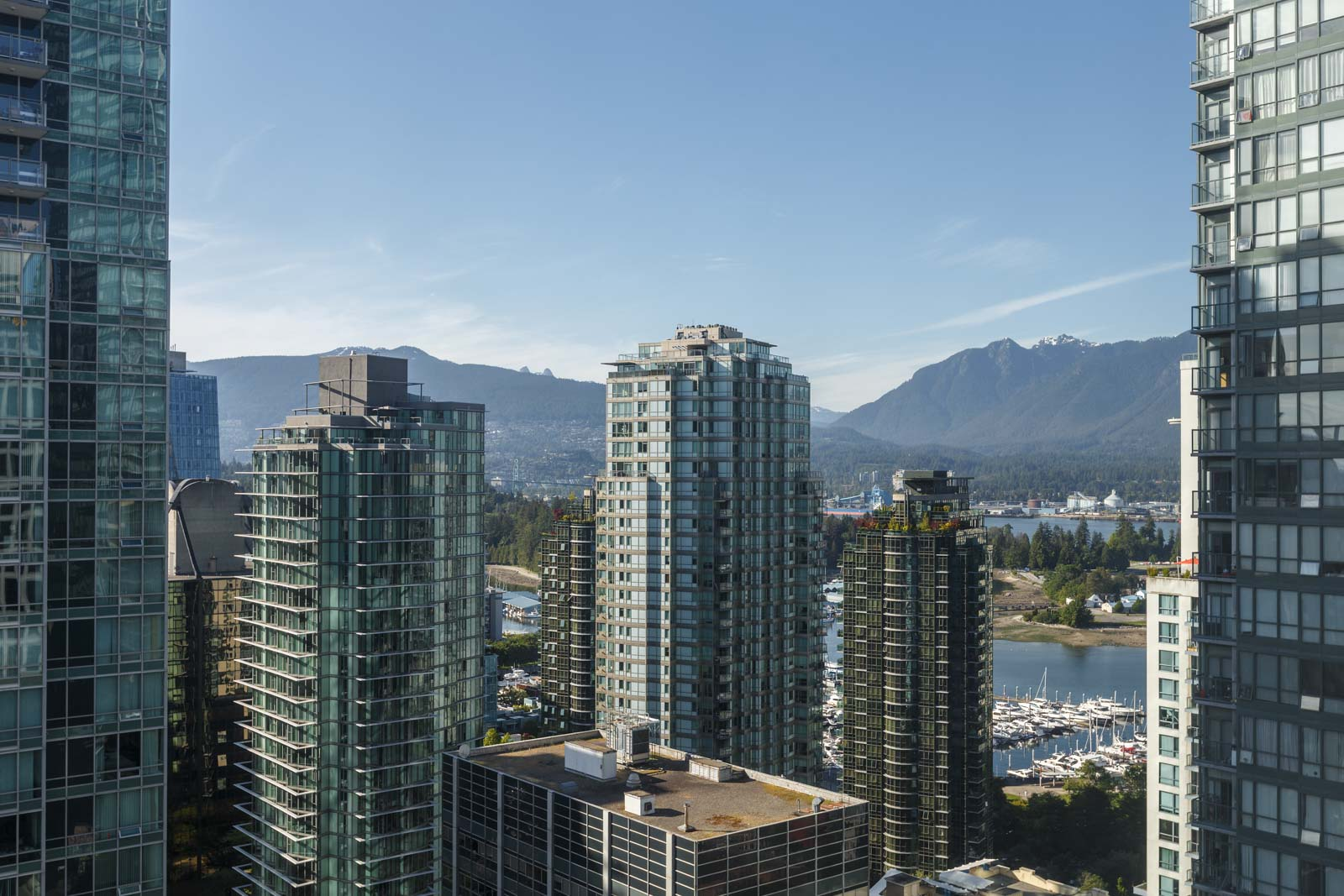 mountain and water views in downtown vancouver apartment