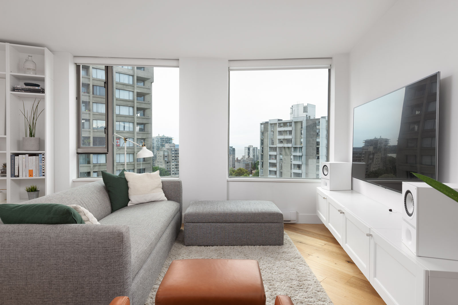 living room with view in rental condo at 1506-1277 Neslon Street in Vancouver