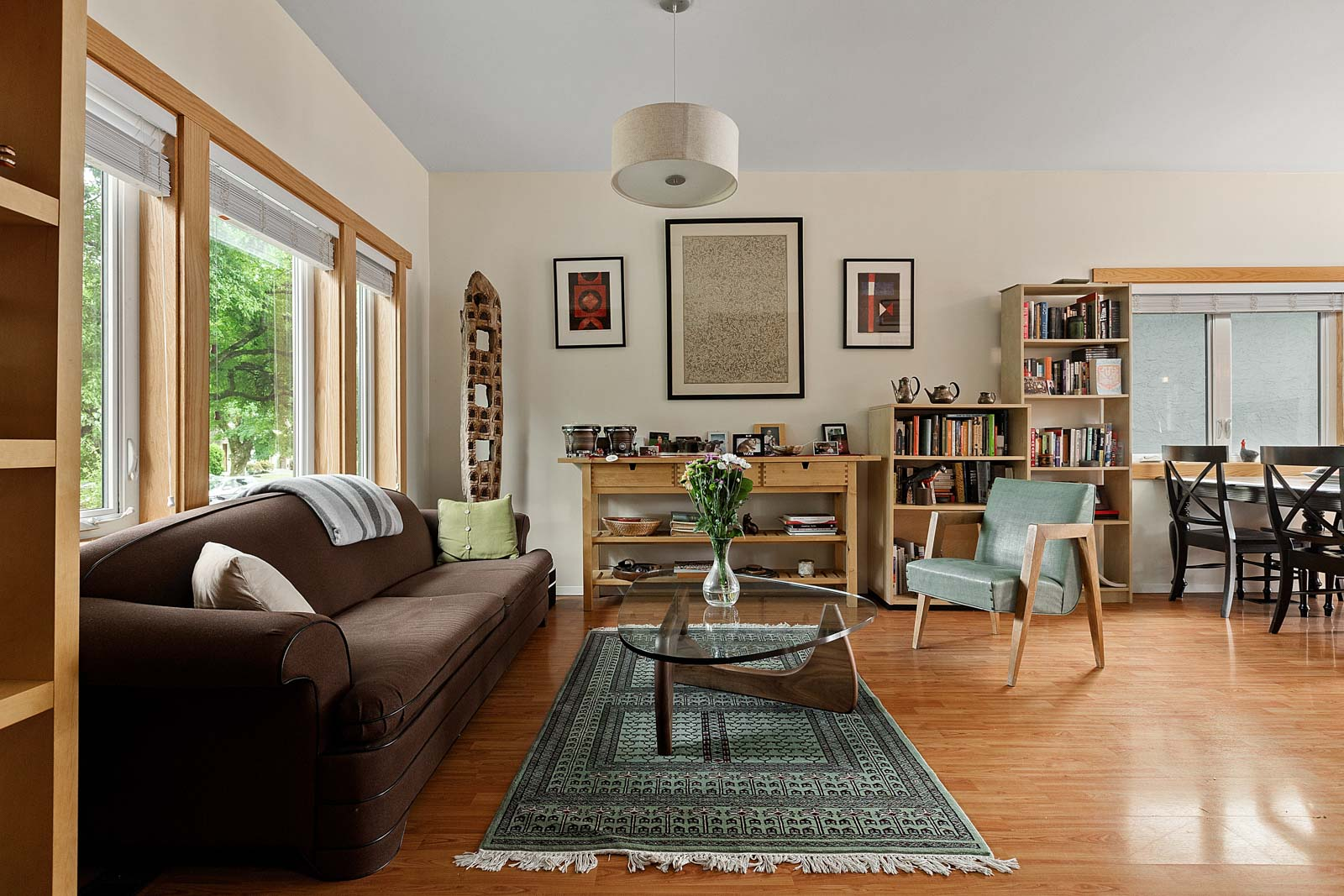 living room overlooking front porch in East Vancouver house