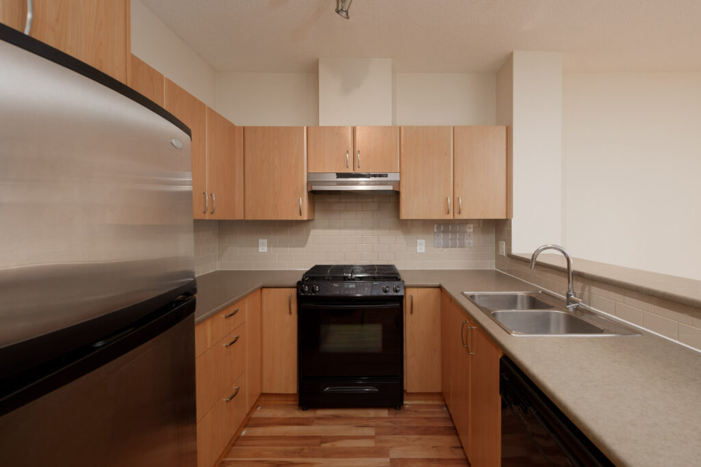 kitchen in rental condo at Collage in the Brentwood neighbourhood of Burnaby