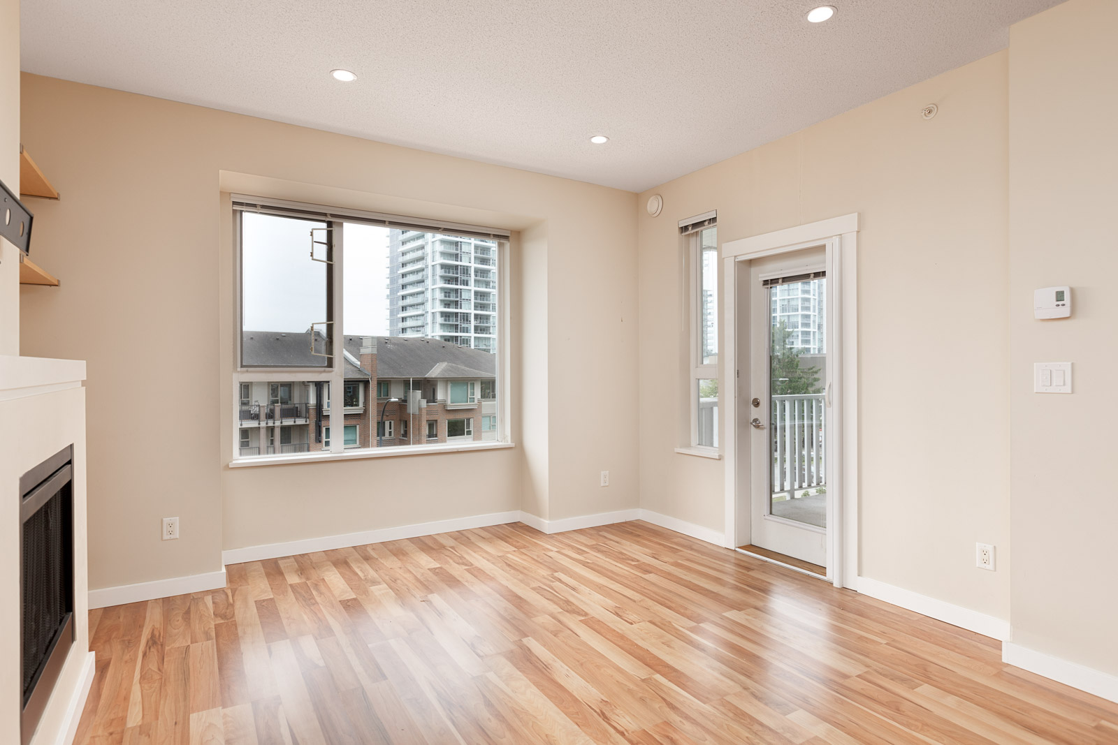 living room with view in rental condo at 405-4723 Dawson Street in Burnaby